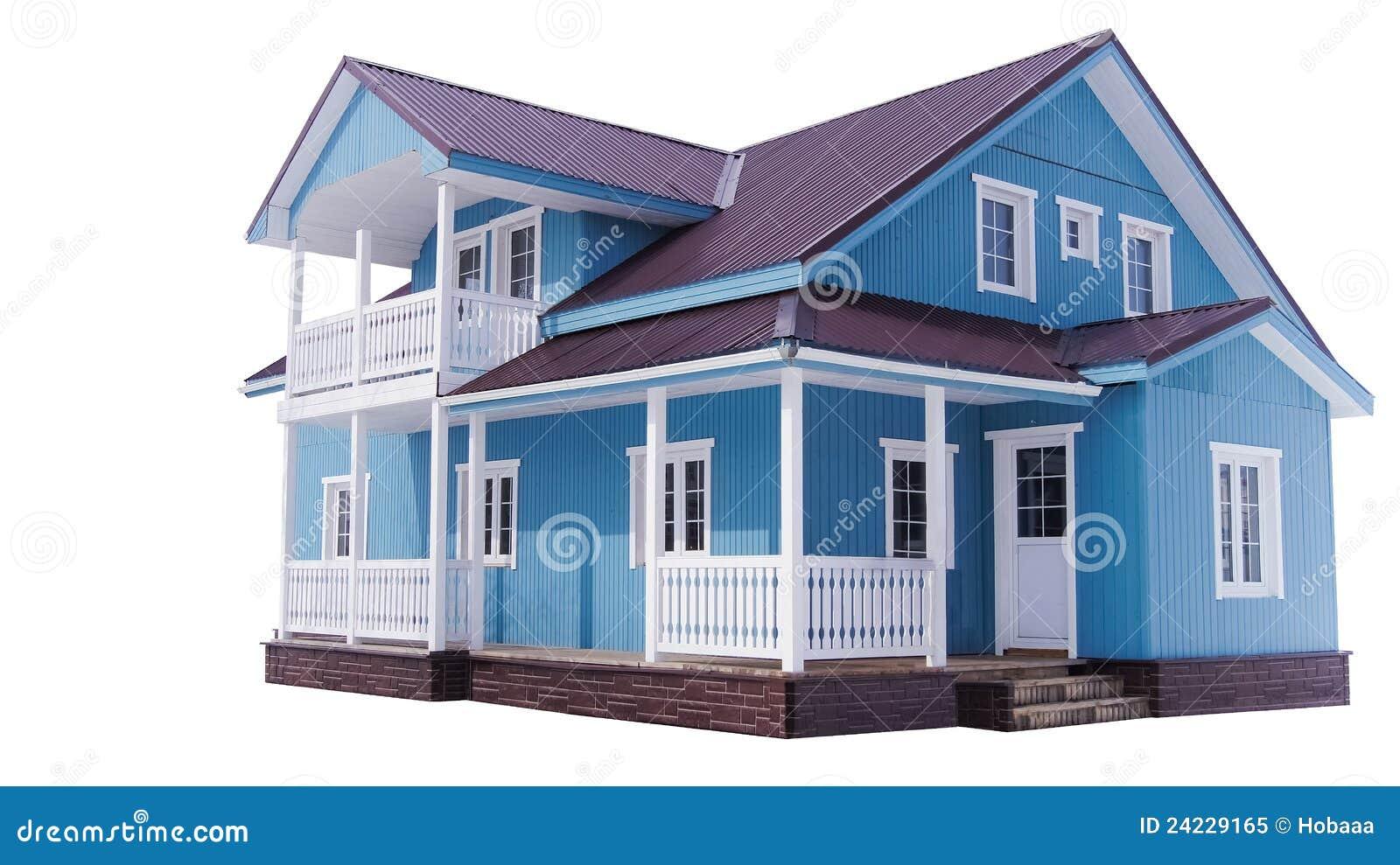 maison bleue sur le blanc photo libre de droits image 24229165. Black Bedroom Furniture Sets. Home Design Ideas