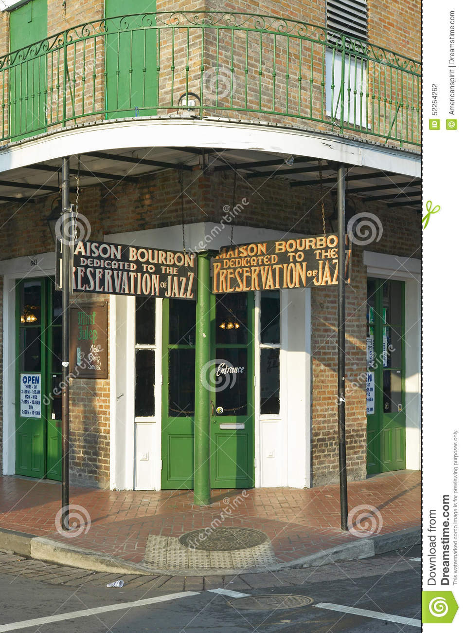 Maison Bourbon Jazz Club With Green Doors In Morning Light Of