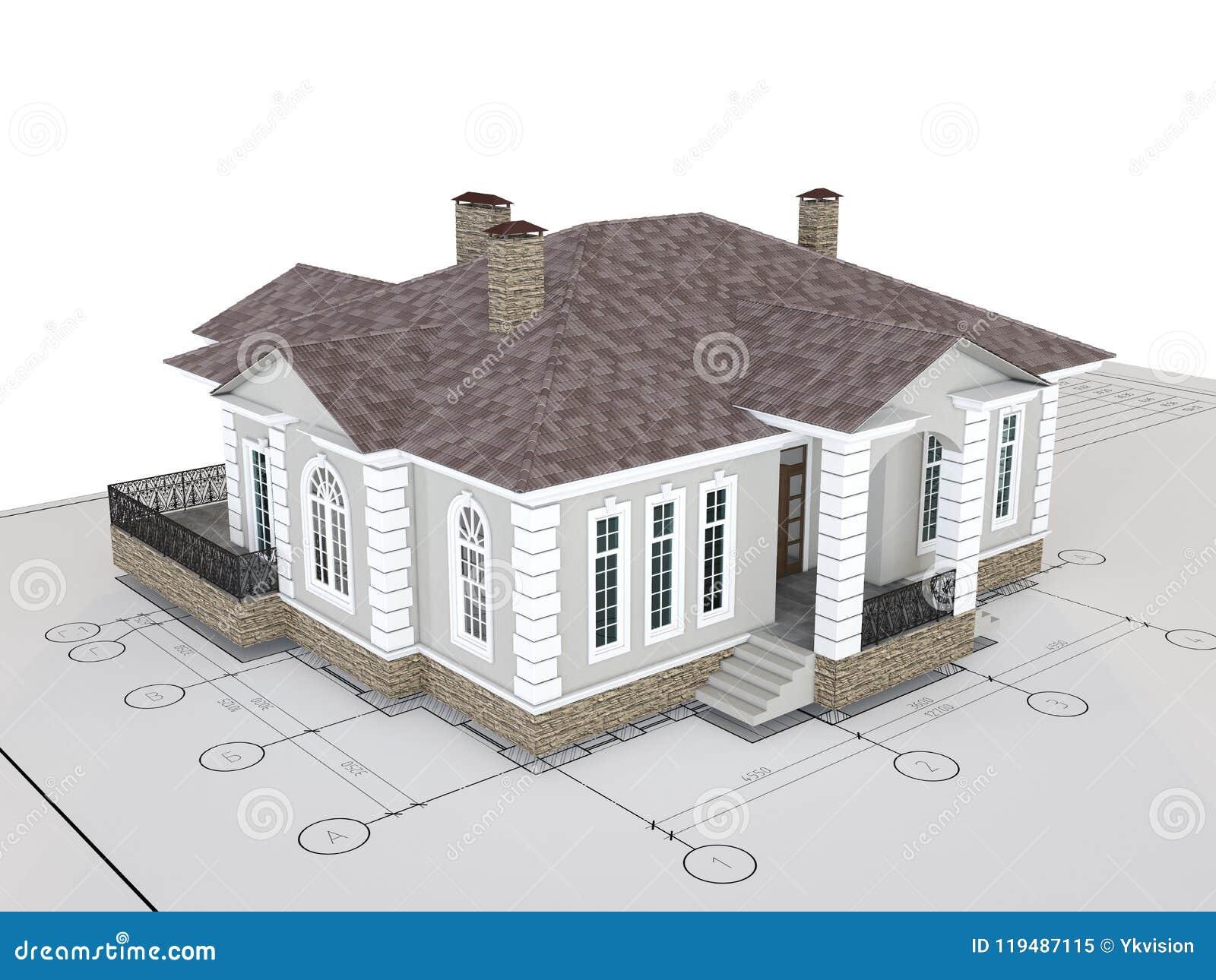 Maison Classique Sur Le Dessin D Isolement Batiment Exterieur D Architecture Illustration Stock Illustration Du Maison Isolement 119487115