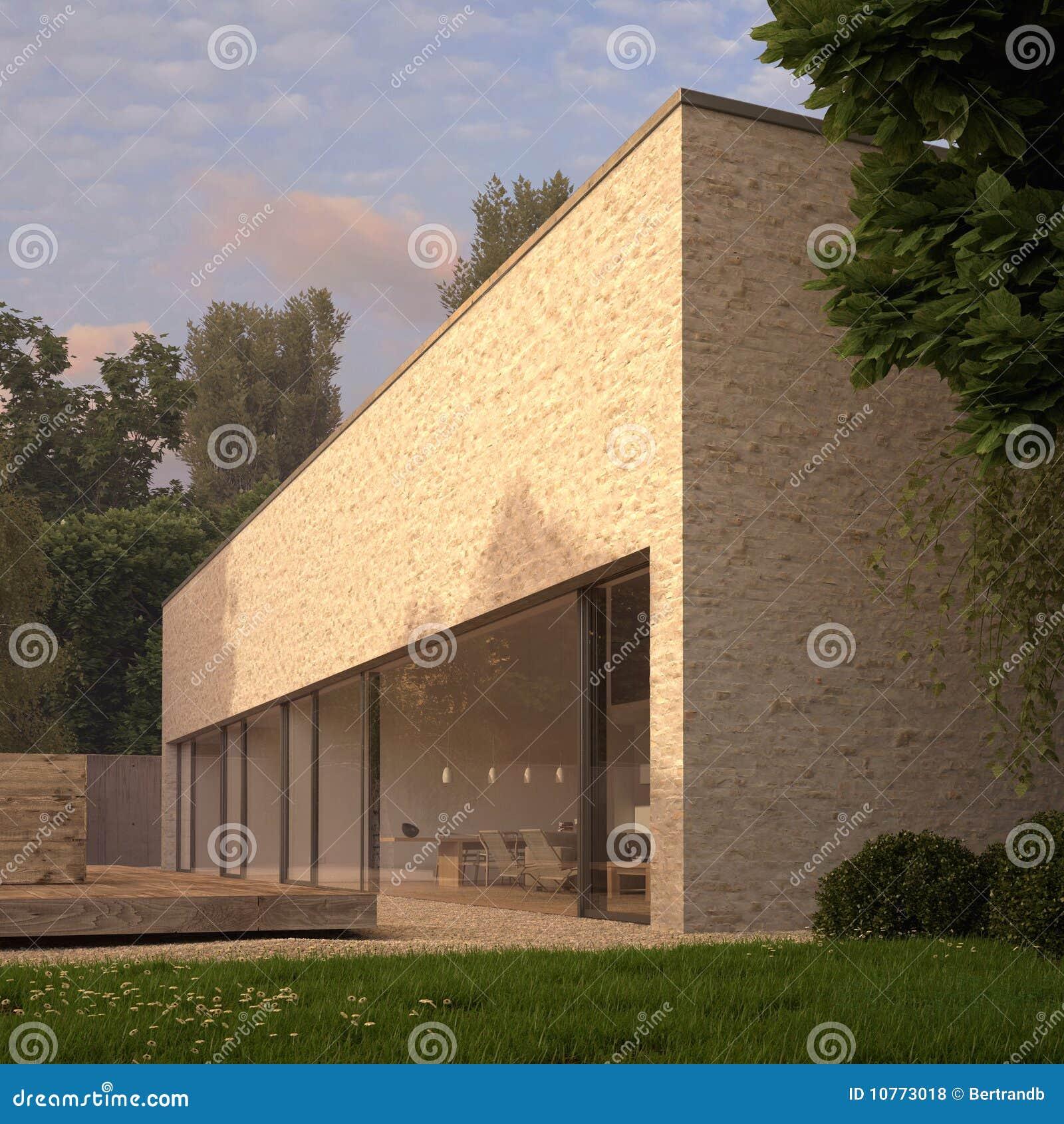 Maison contemporaine de brique avec le jardin photos for Brique pour bordure de jardin