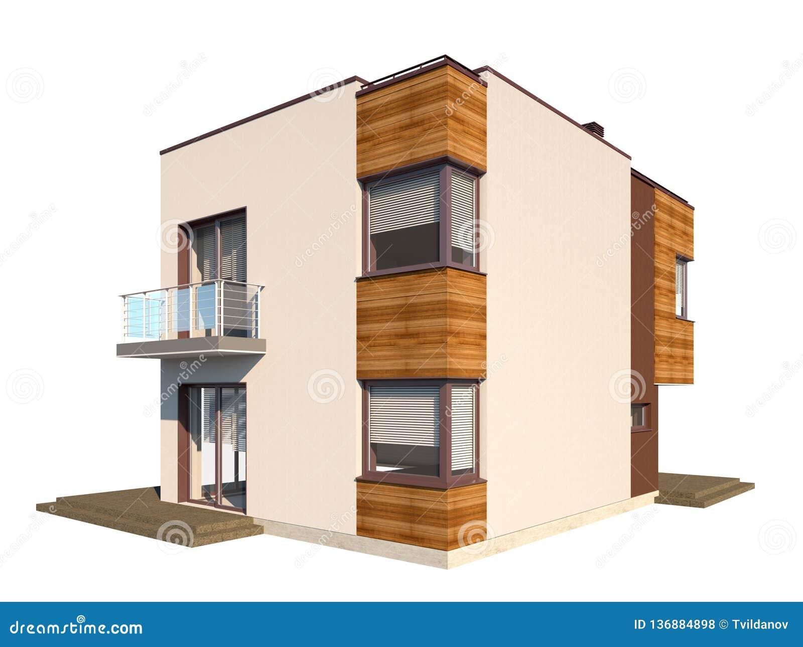 Maison Contemporaine Toit Terrasse maison contemporaine moderne avec un toit plat d'isolement