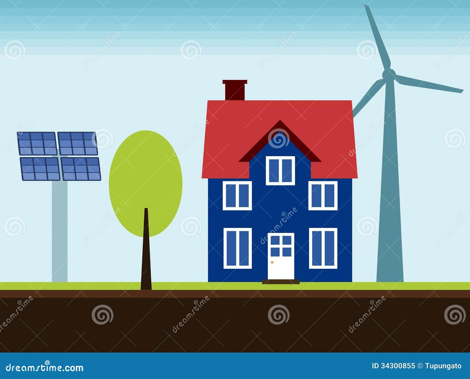 Maison d 39 nergie renouvelable photo libre de droits for Maison a energie renouvelable
