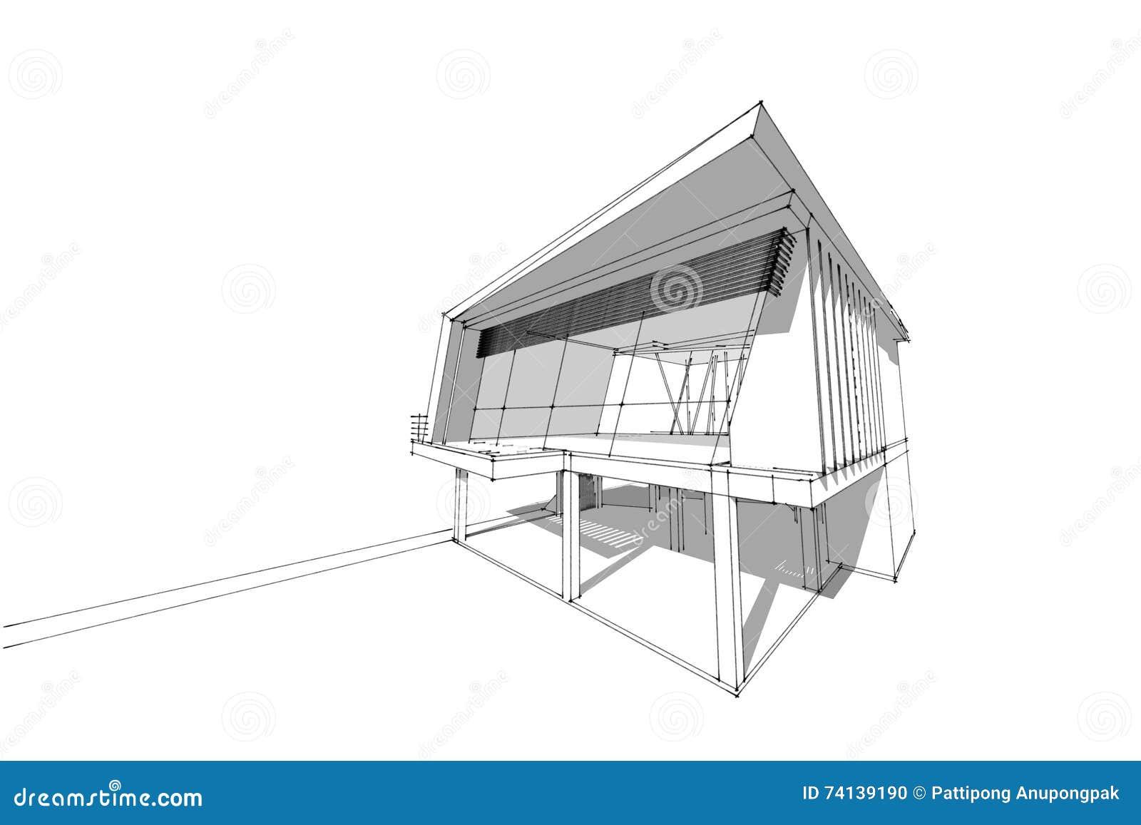 Maison D\'architecture Dessinant L\'illustration 3d Moderne ...