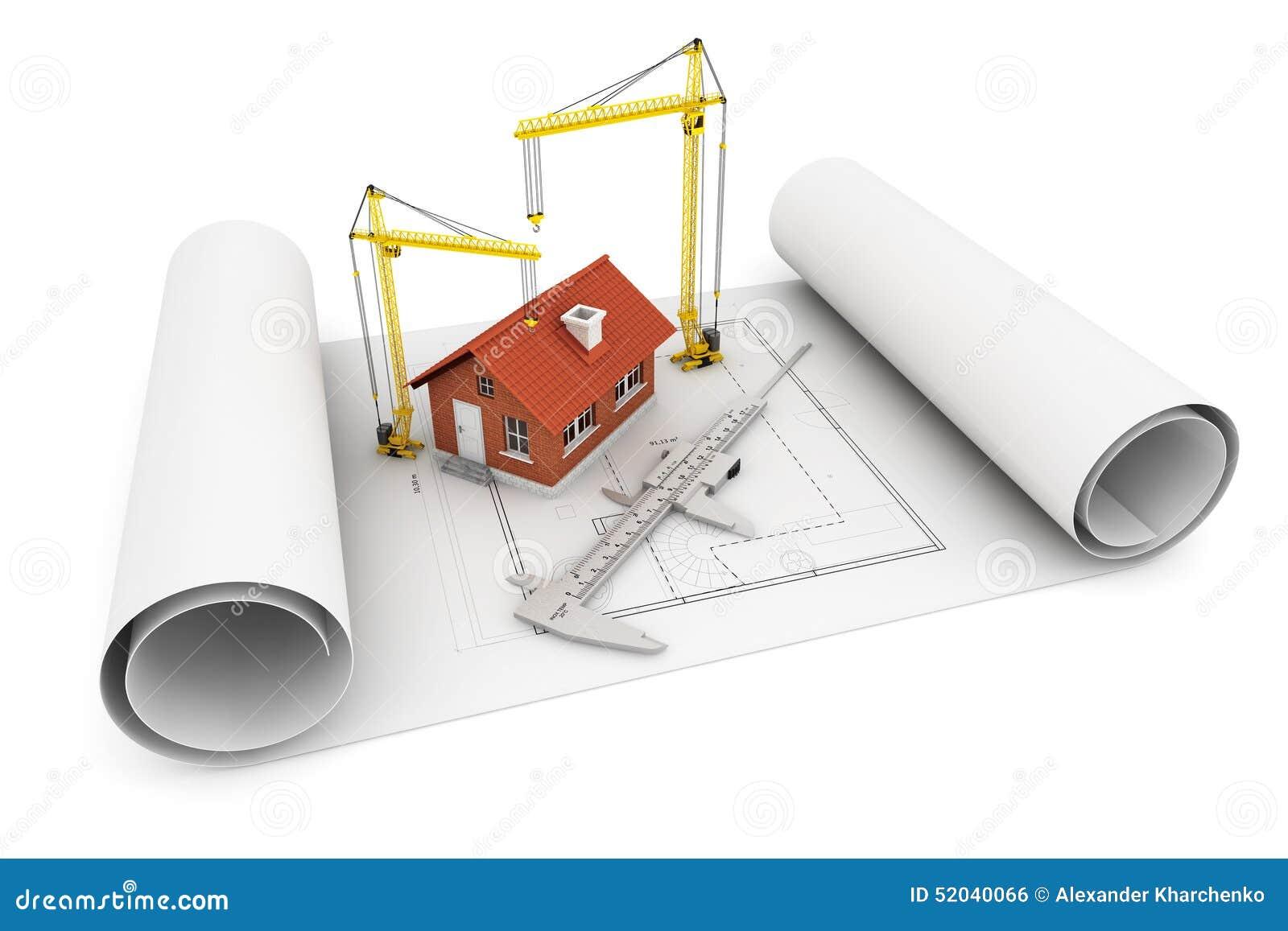 Maison 3d avec le calibre et la grue de levage au dessus for Architecte 3d avec crack