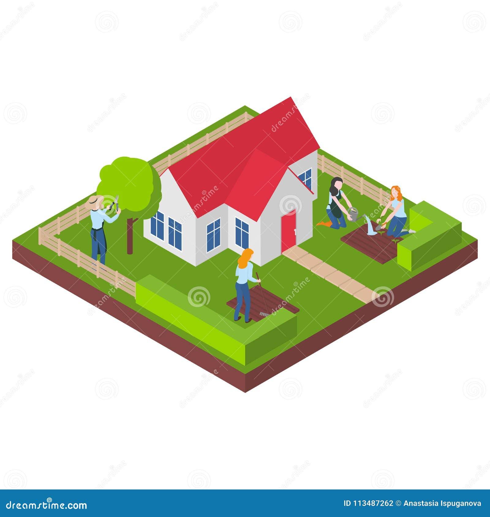 Architecte Jardin 3D Gratuit maison 3d, bâtiment et yard isométriques immobiliers d