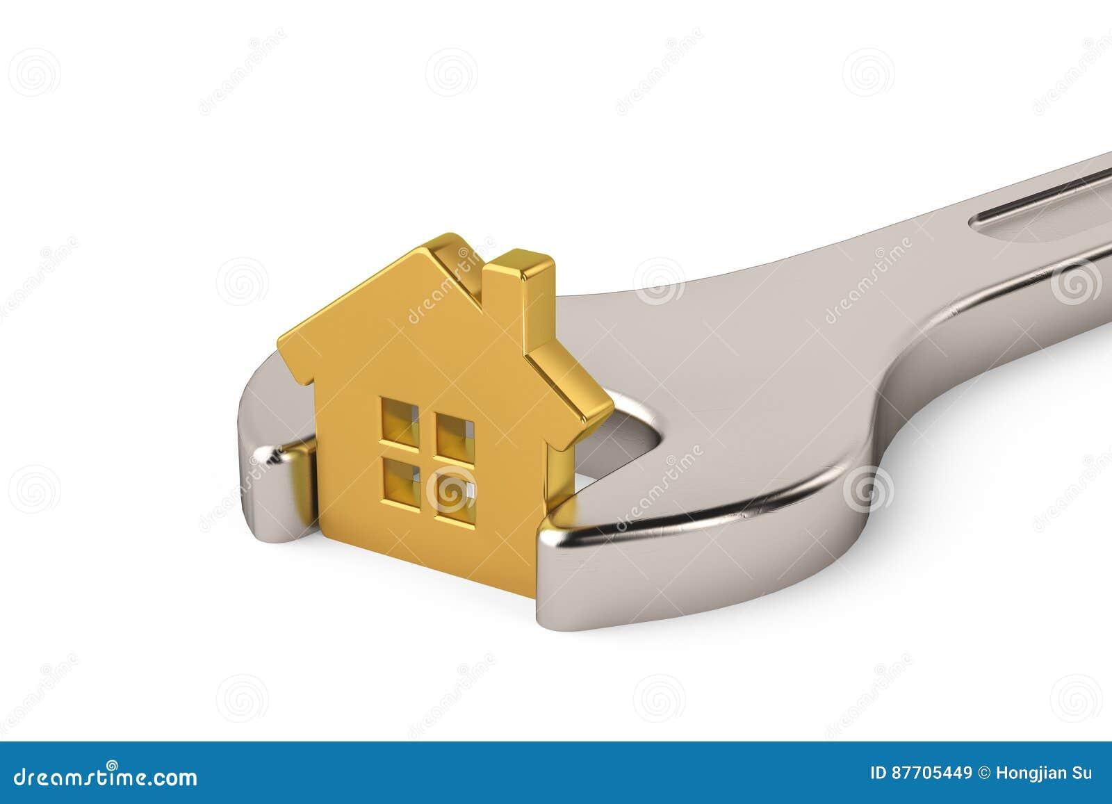Maison d or dans la clé d isolement sur un fond blanc illustrat 3d