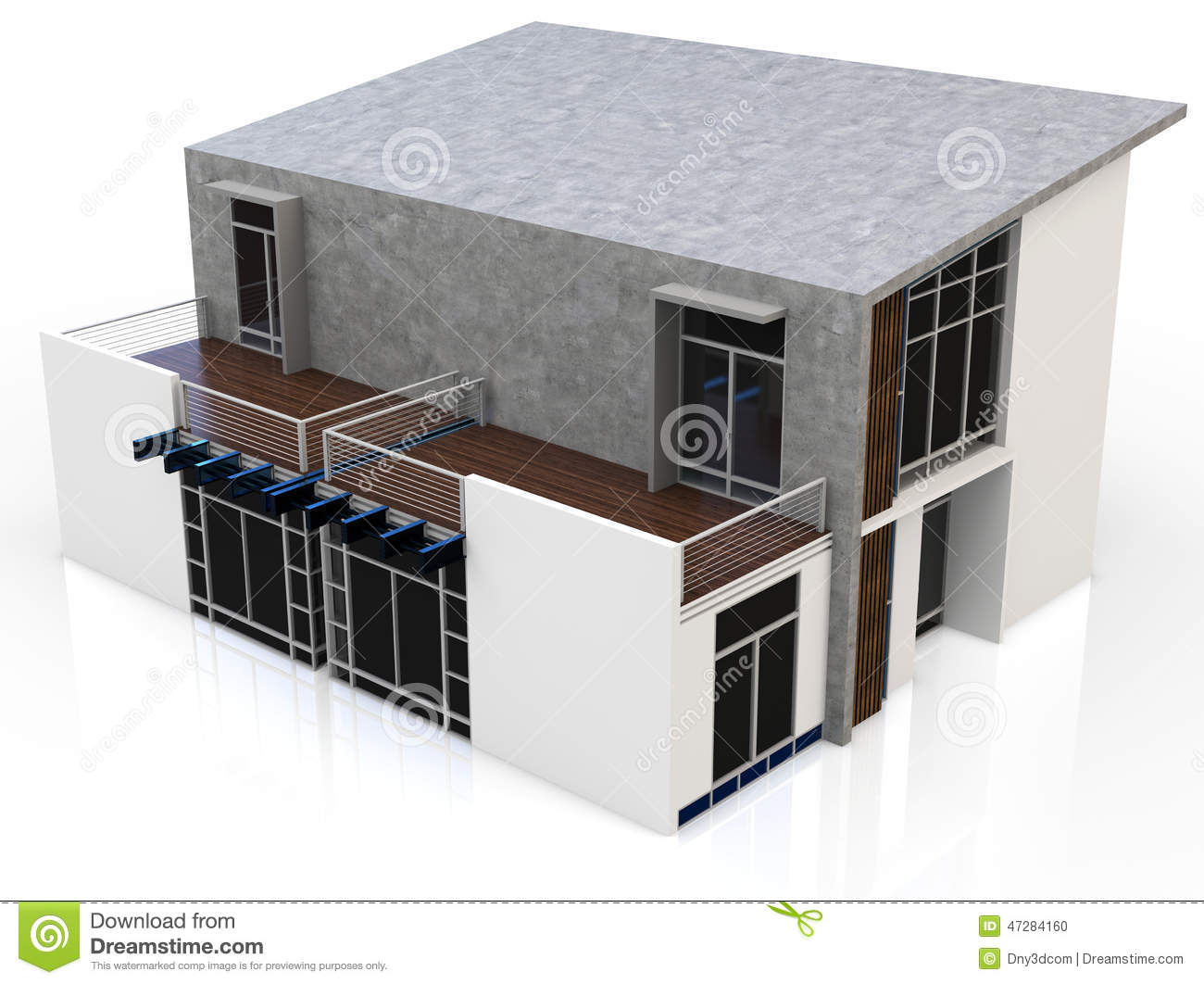 Maison 3d duplex moderne illustration stock image du for Maison duplex plan