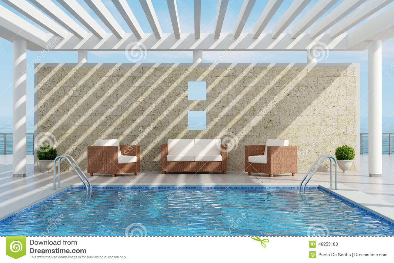 maison d 39 t avec la piscine illustration stock image 48253183. Black Bedroom Furniture Sets. Home Design Ideas