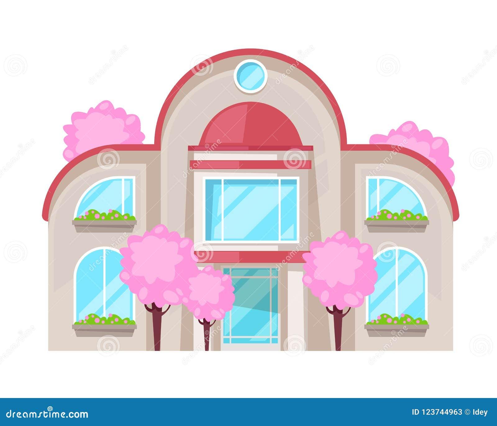 Maison de campagne colorée, cottage de famille, récréation de manoir, immobiliers