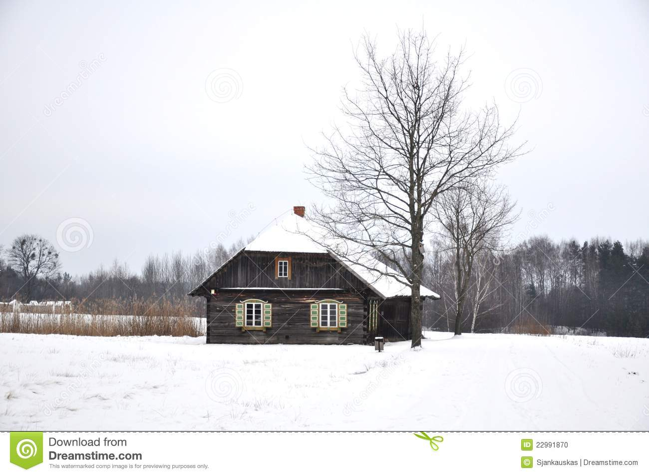 Maison de campagne en hiver photo stock image 22991870 for Maison de campagne