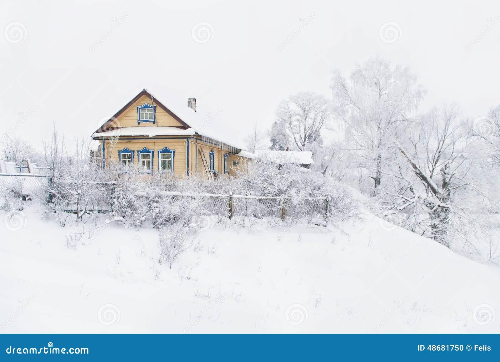 Maison de campagne en hiver photo stock image 48681750 - Temperature maison hiver ...