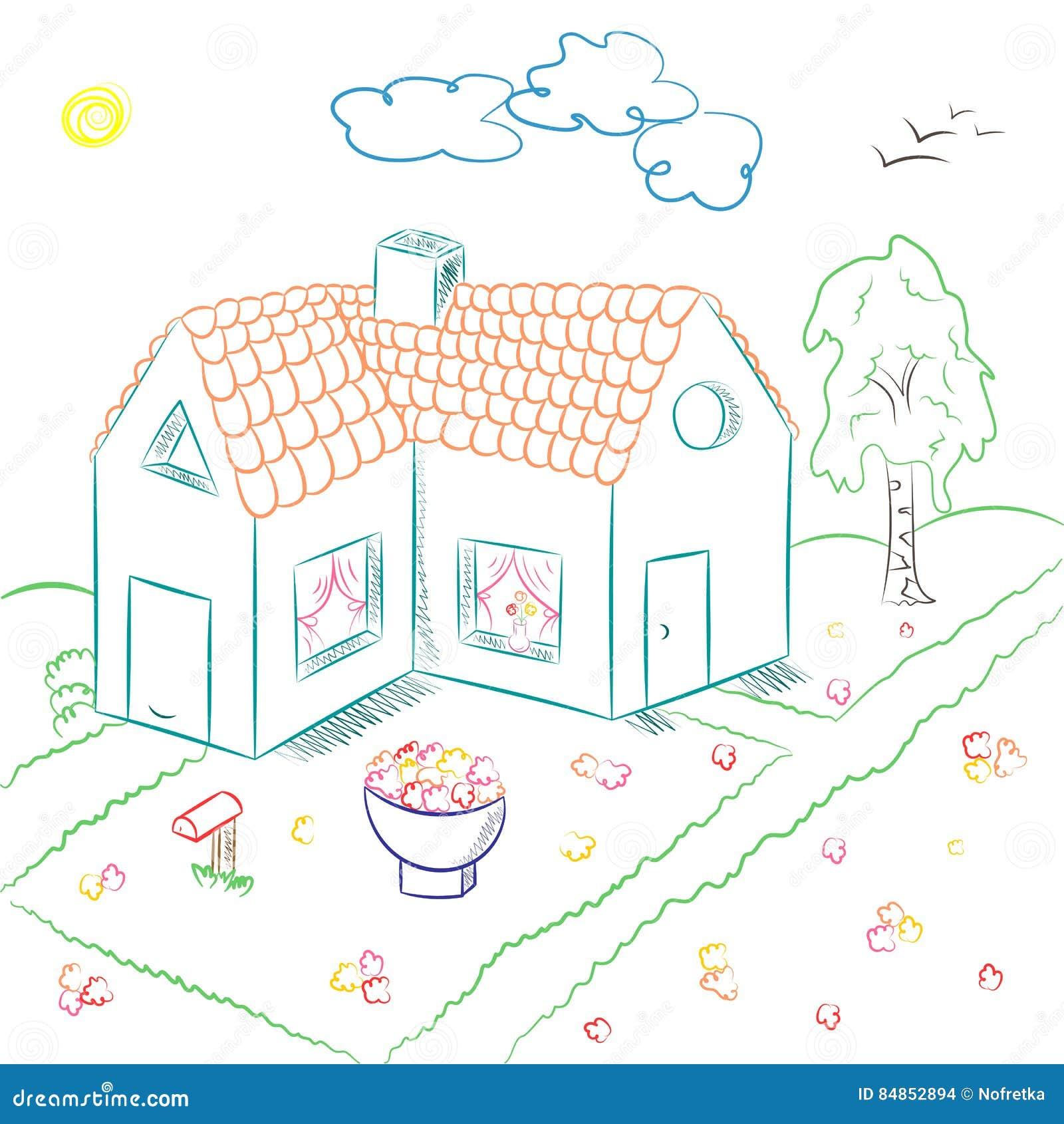 Dessin D Une Chambre D Enfant maison de campagne tirée par la main colorée dans le style