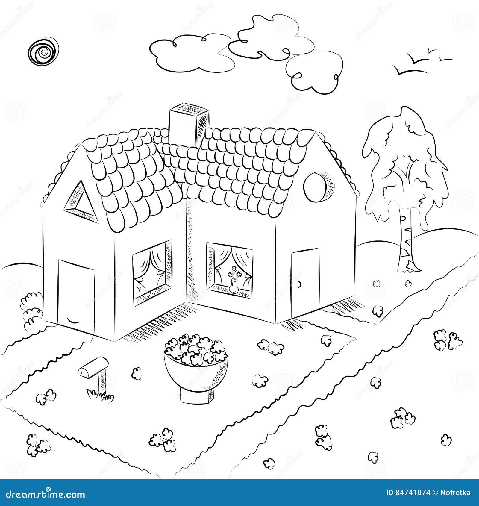 Dessin D Une Chambre D Enfant maison de campagne tirée par la main dans le style de