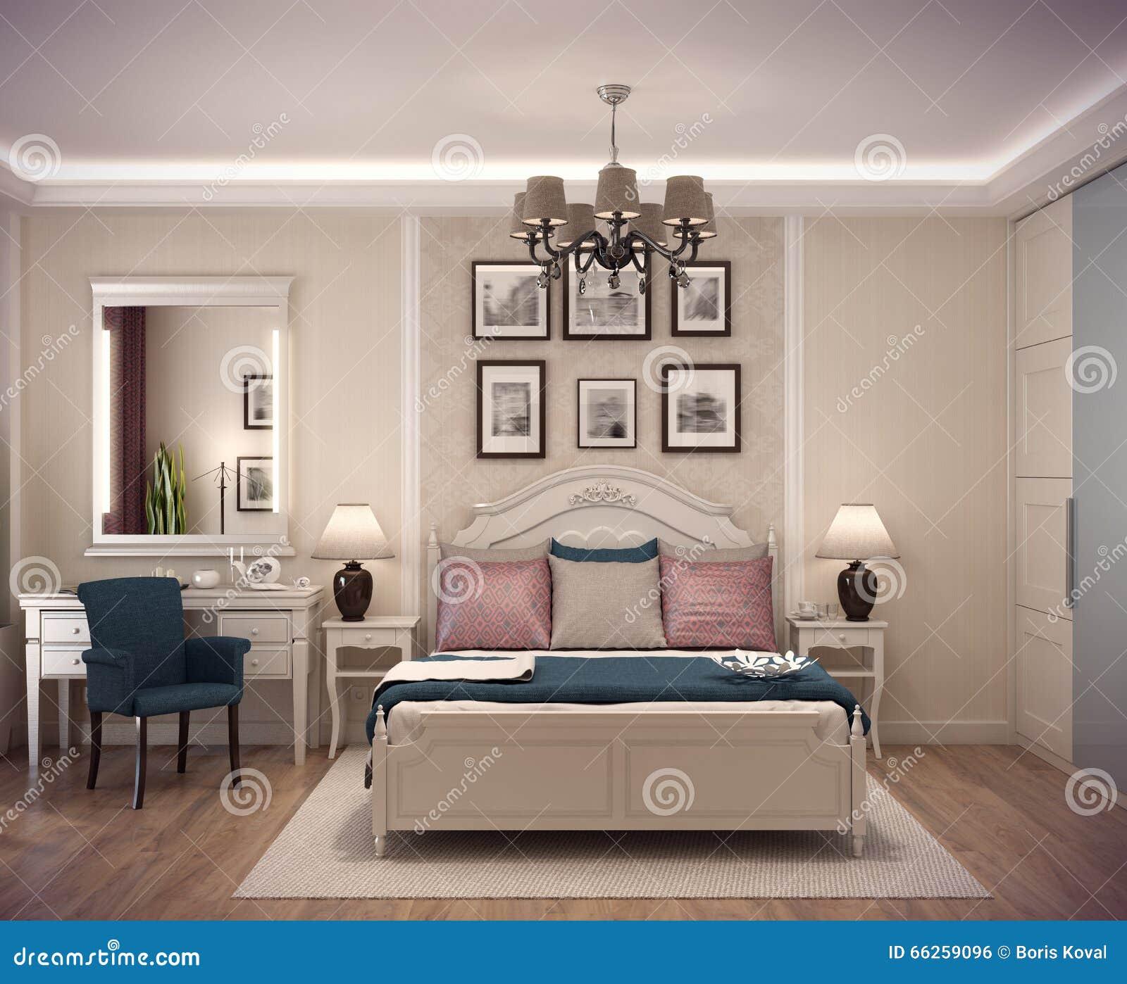 3D Rendant La Chambre à Coucher Confortable Dans Le Style Classique Le Lit  énorme Avec De Nombreux Oreillers Est Domine La Salle Lu0027intérieur Est  Décoré Du ...
