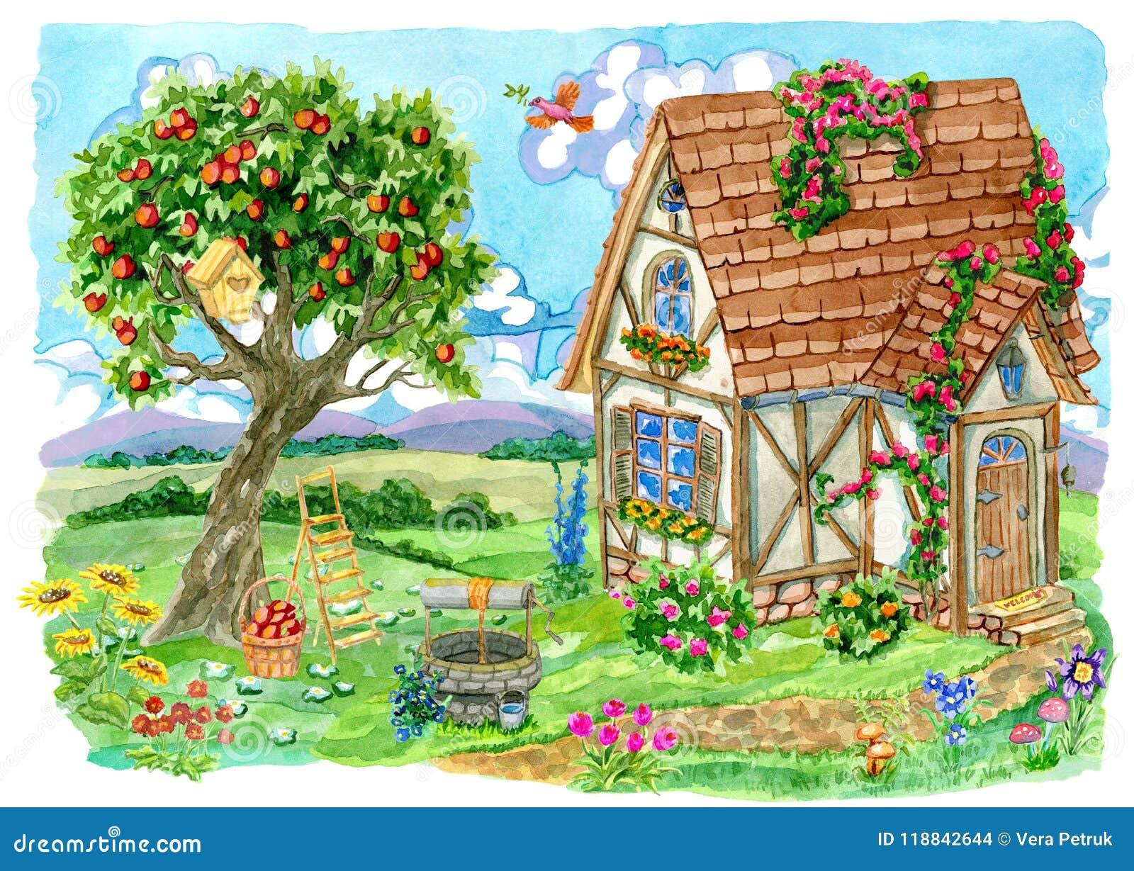 Maison De Cottage De Fachwerk Avec Le Pommier Vieux Bien Les