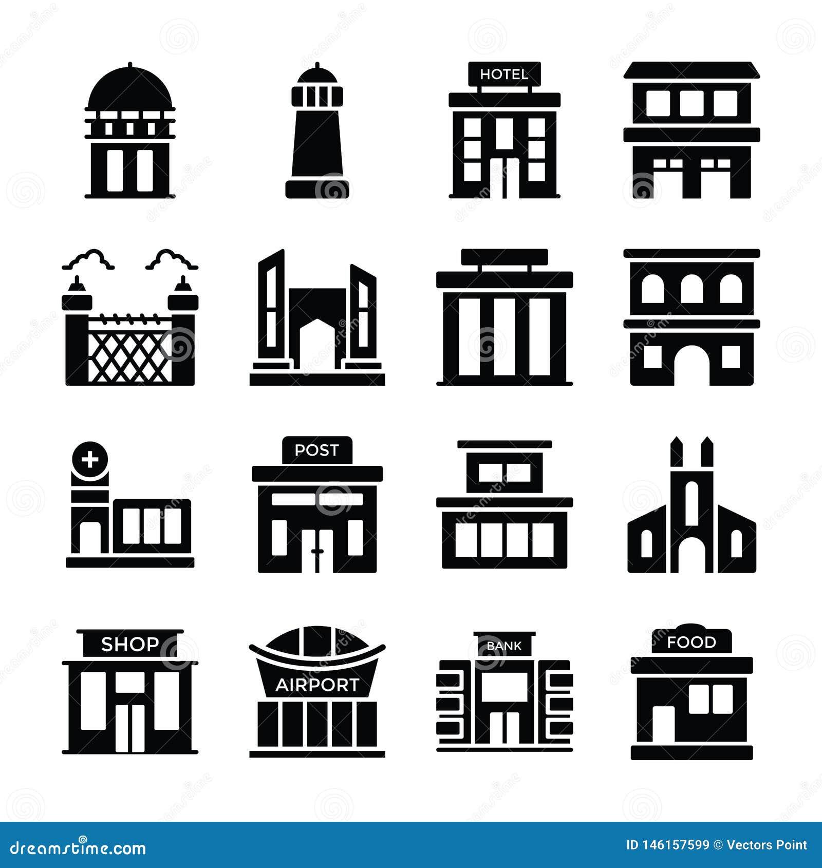 Maison de dépôt, banque, institut financier, villa, hutte, maison, hôtel de ville, maison moderne, ferme, entrepôt, appartements,