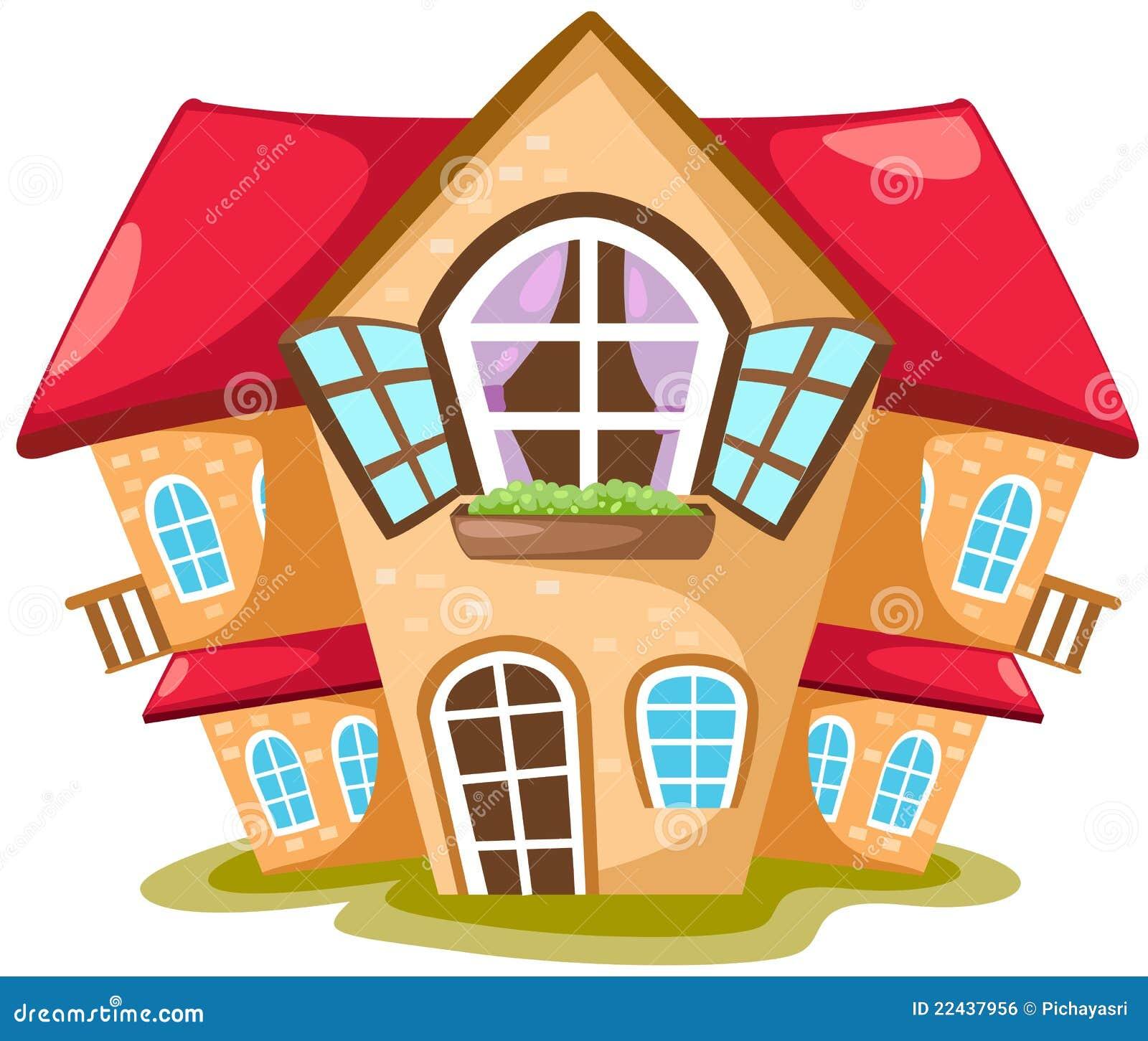 Maison de dessin anim image libre de droits image 22437956 for Dessin 3d maison