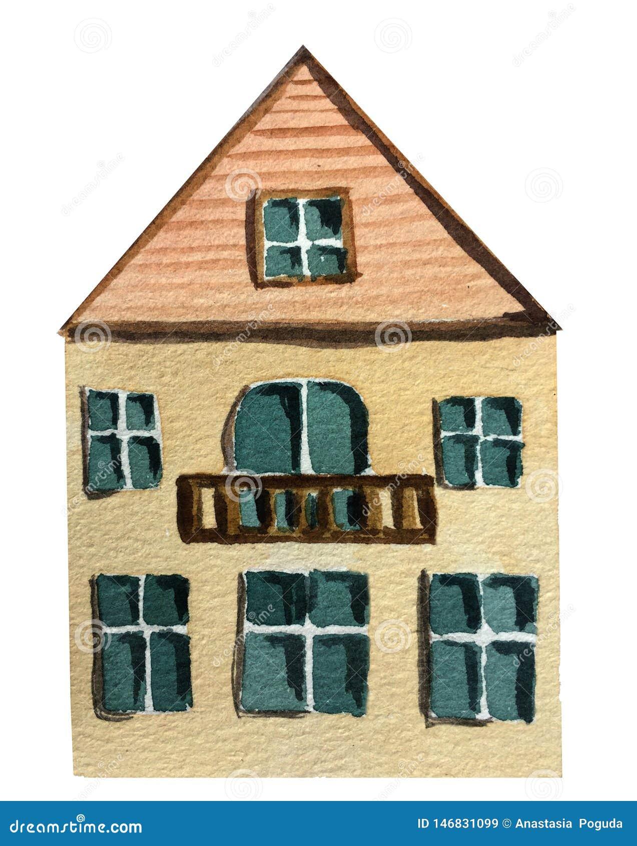 Maison de deux étages avec un balcon sur un fond blanc Illustration d aquarelle
