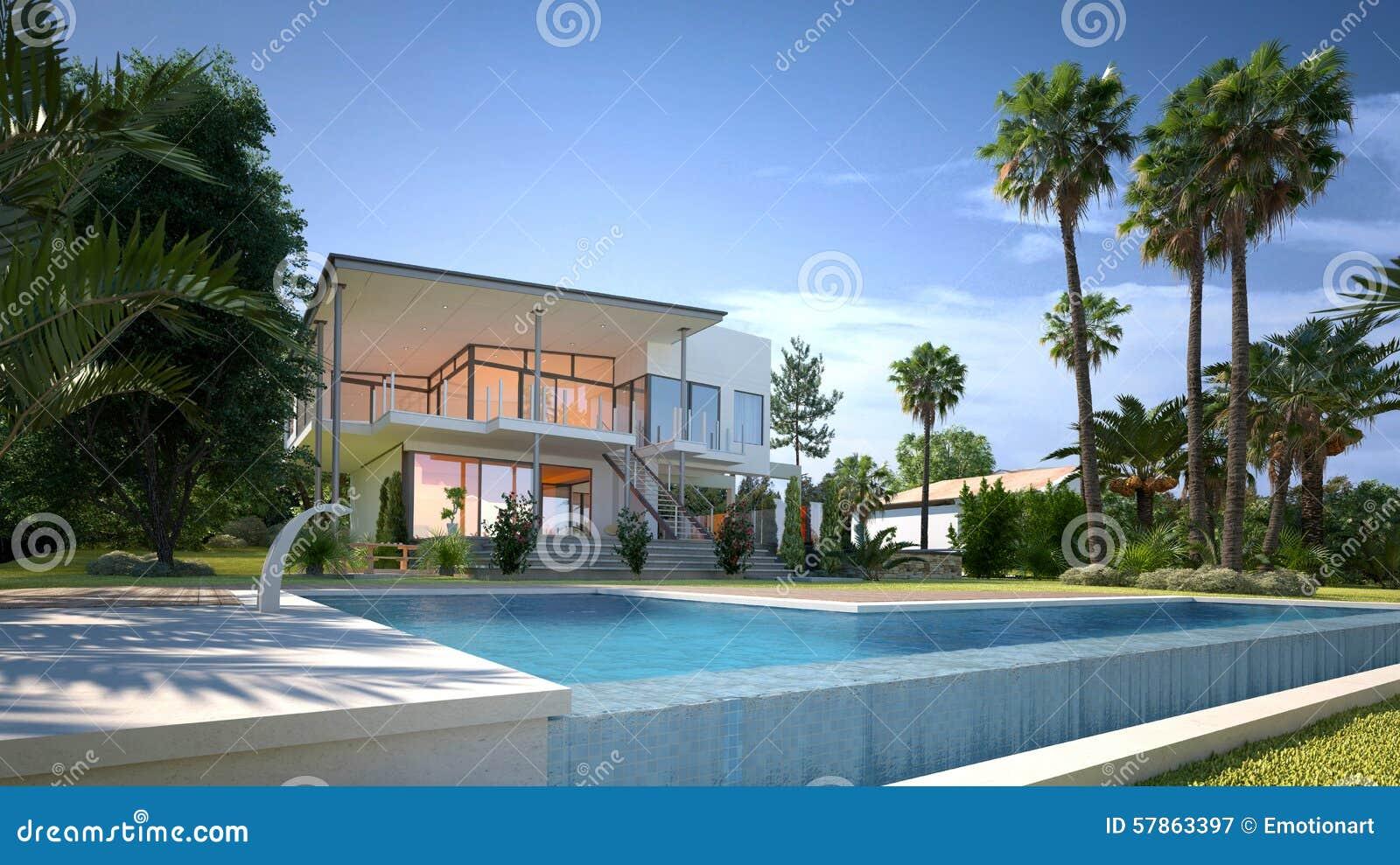Maison de luxe avec le jardin et la piscine tropicaux for Maison piscine jardin
