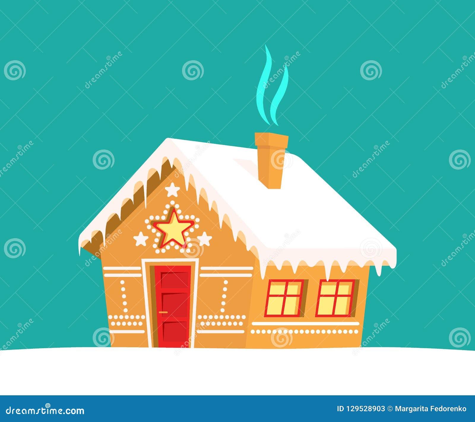 Maison de pain d épice Noël, nouvelle année, carte de vacances d hiver
