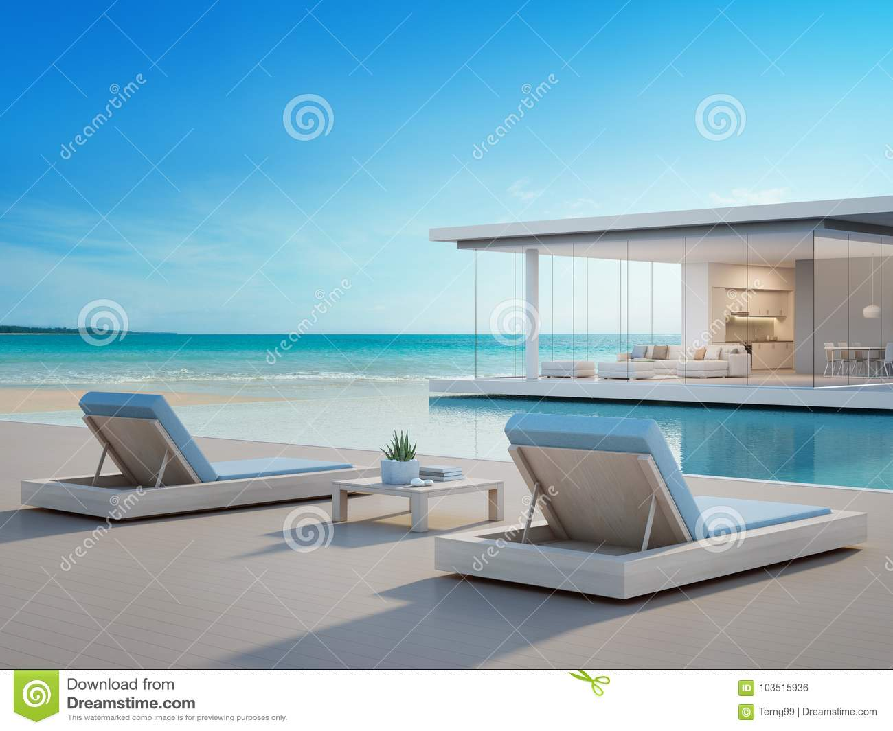 maison de plage de luxe avec la piscine de vue de mer et terrasse dans la conception moderne. Black Bedroom Furniture Sets. Home Design Ideas