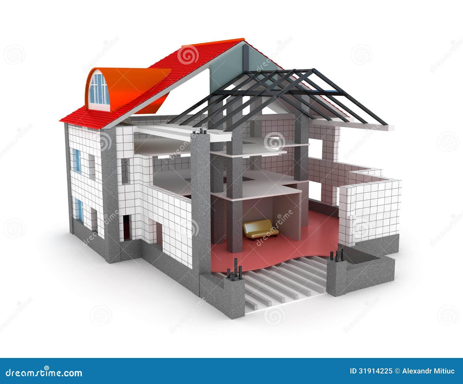 maison de plan d 39 architecture sur le blanc photo libre de droits image 31914225. Black Bedroom Furniture Sets. Home Design Ideas