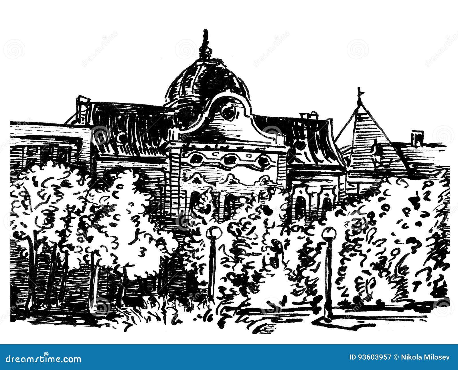 Dessin noir et blanc dencre de maison de ville dans kikinda banat voïvodine serbie
