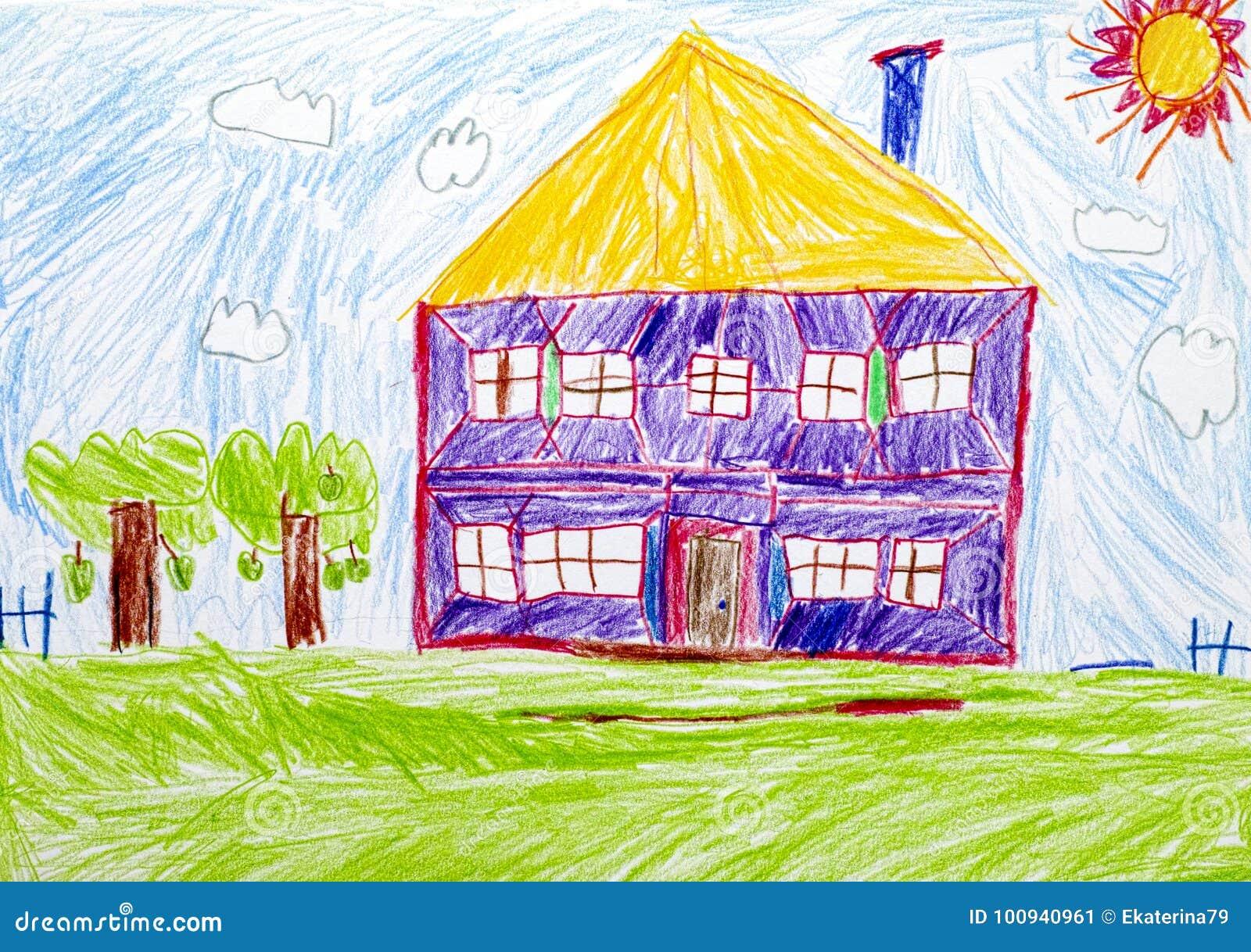 Maison dessin de main de crayon d 39 enfant illustration - Dessin main enfant ...