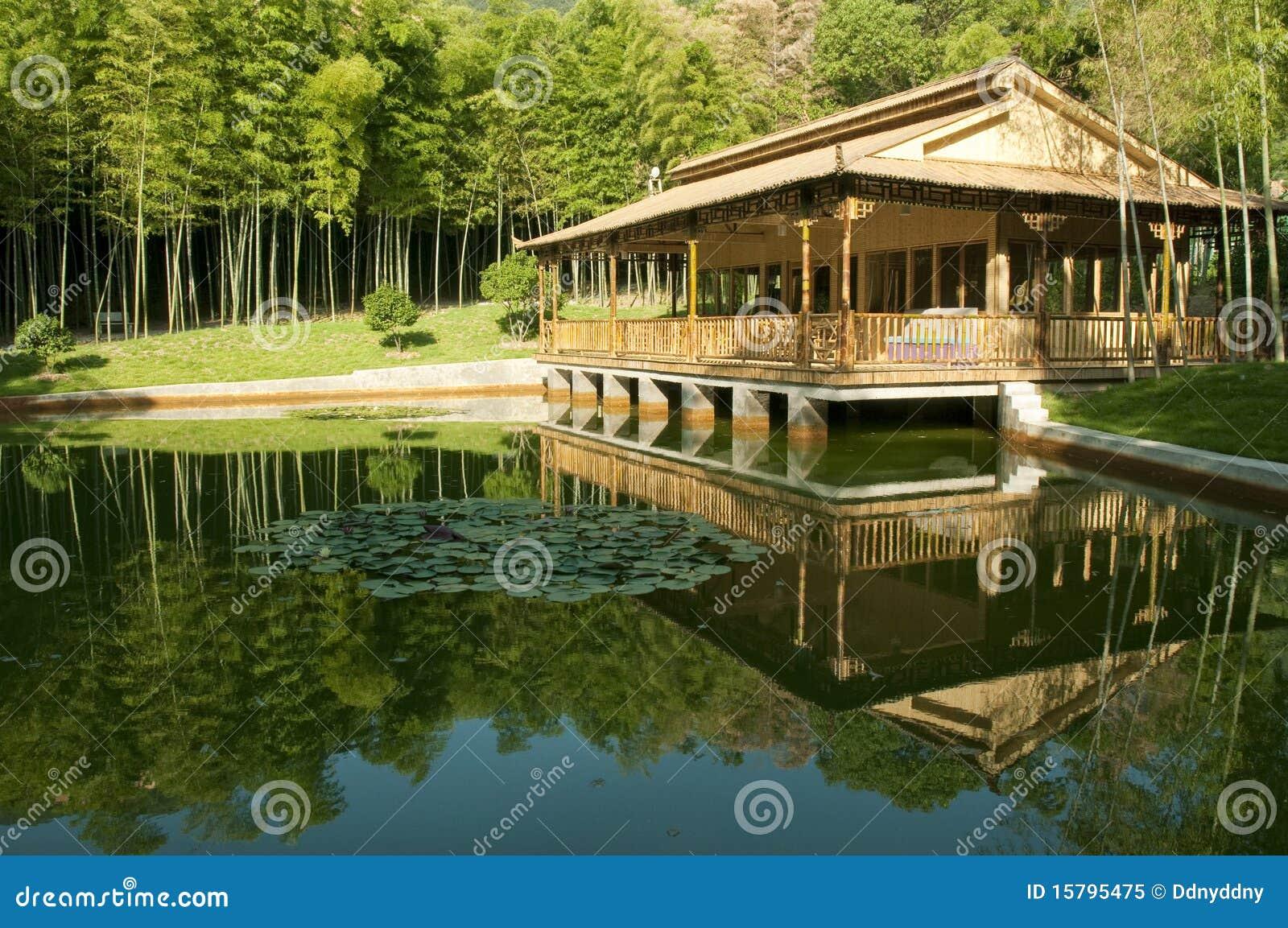 maison en bambou image stock image du vert sauvage. Black Bedroom Furniture Sets. Home Design Ideas