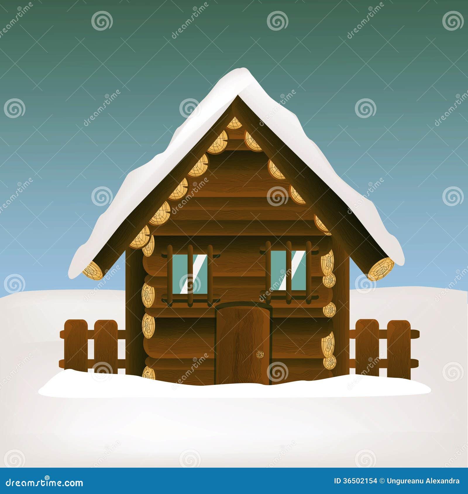 Maison en bois avec le paysage d hiver