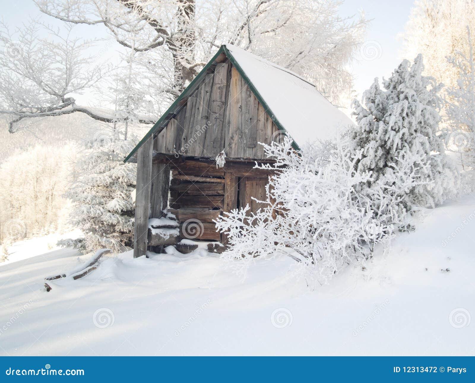 Maison en bois sous la neige photographie stock image - Source sous la maison ...