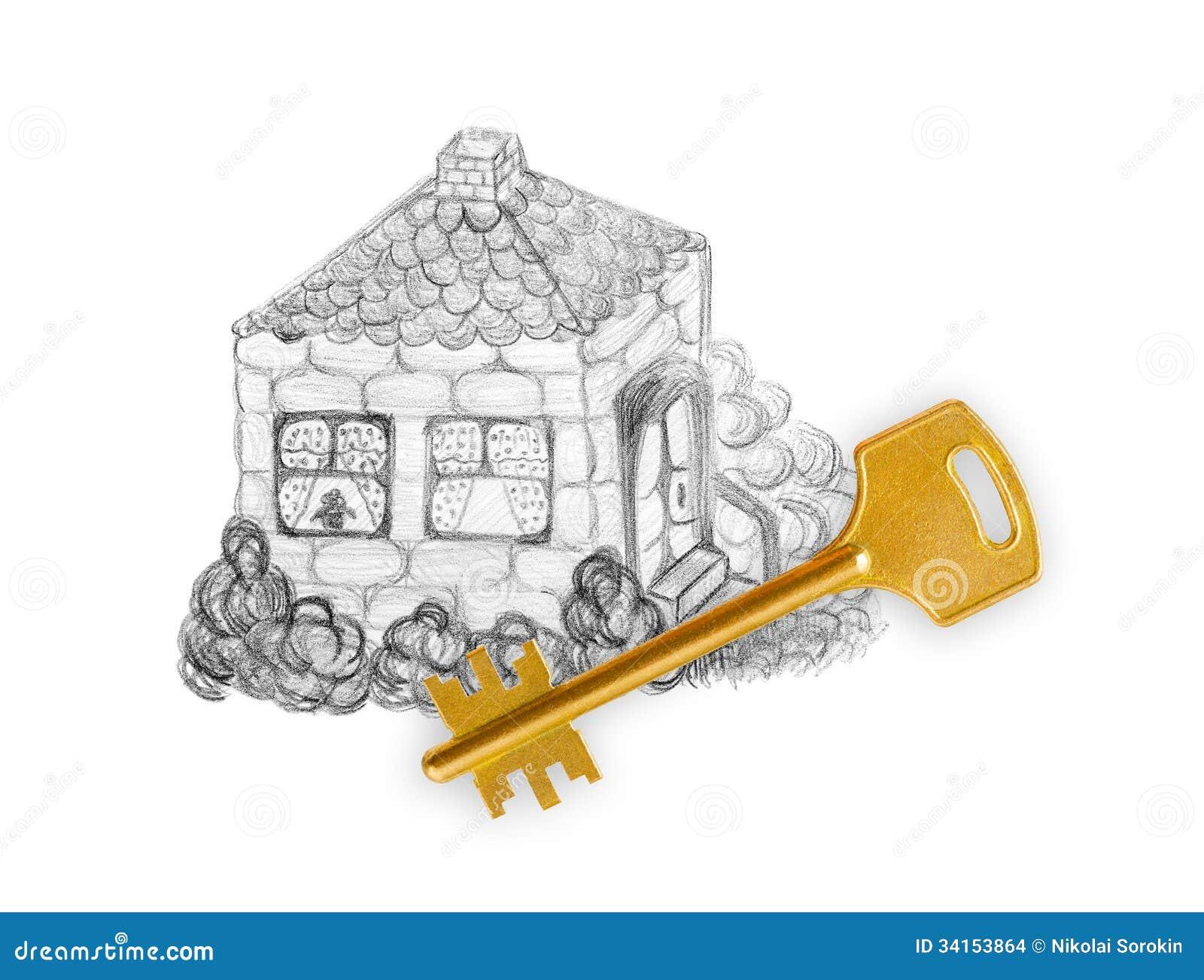 Maison et clé de dessin
