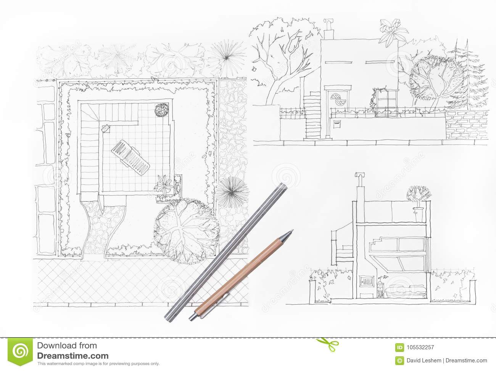 Maison Et Jardin De Dessin D Architecte Image Stock Image Du