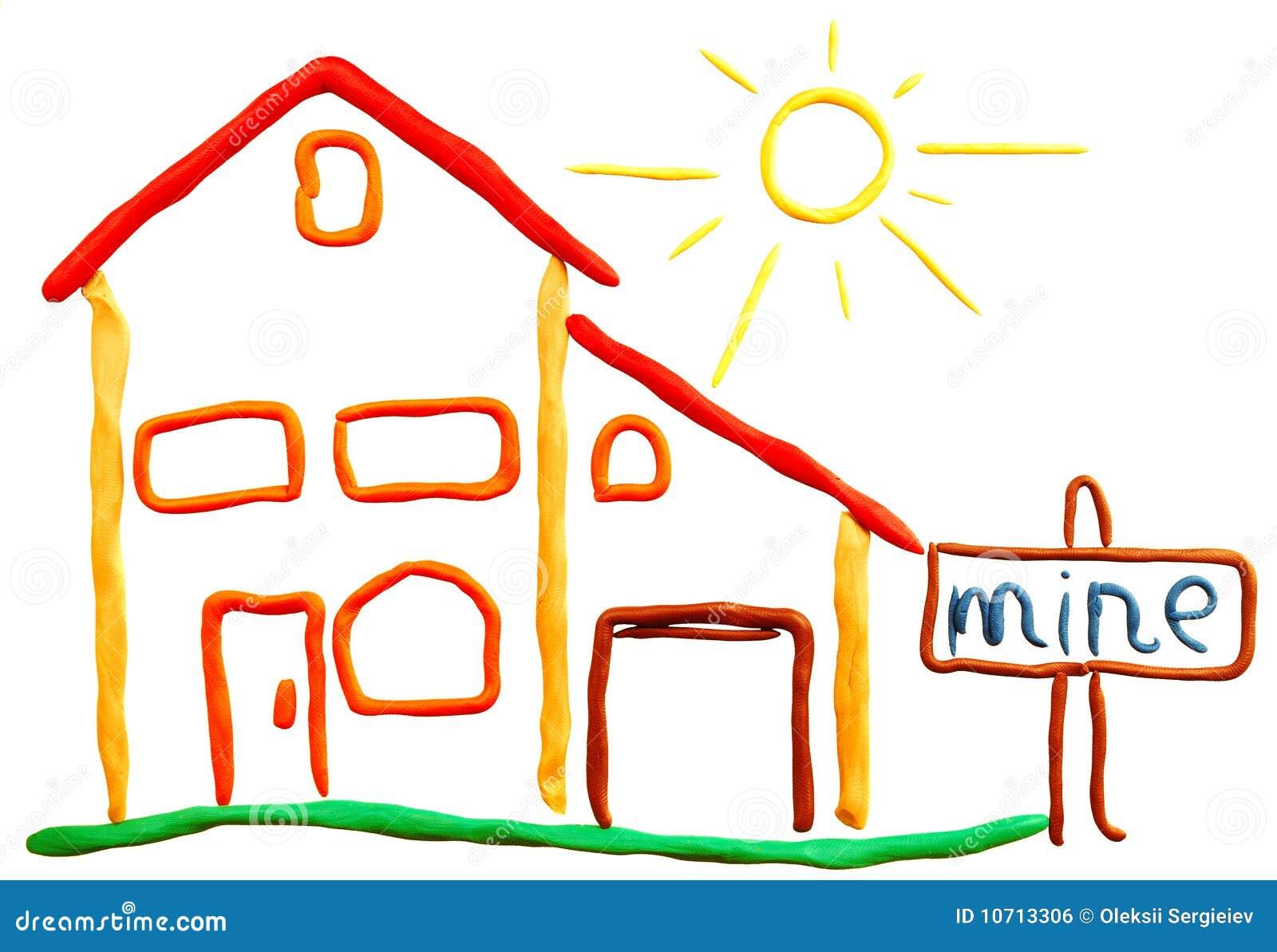 Maison et soleil de p te modeler image libre de droits image 10713306 - Pate a modeler maison ...