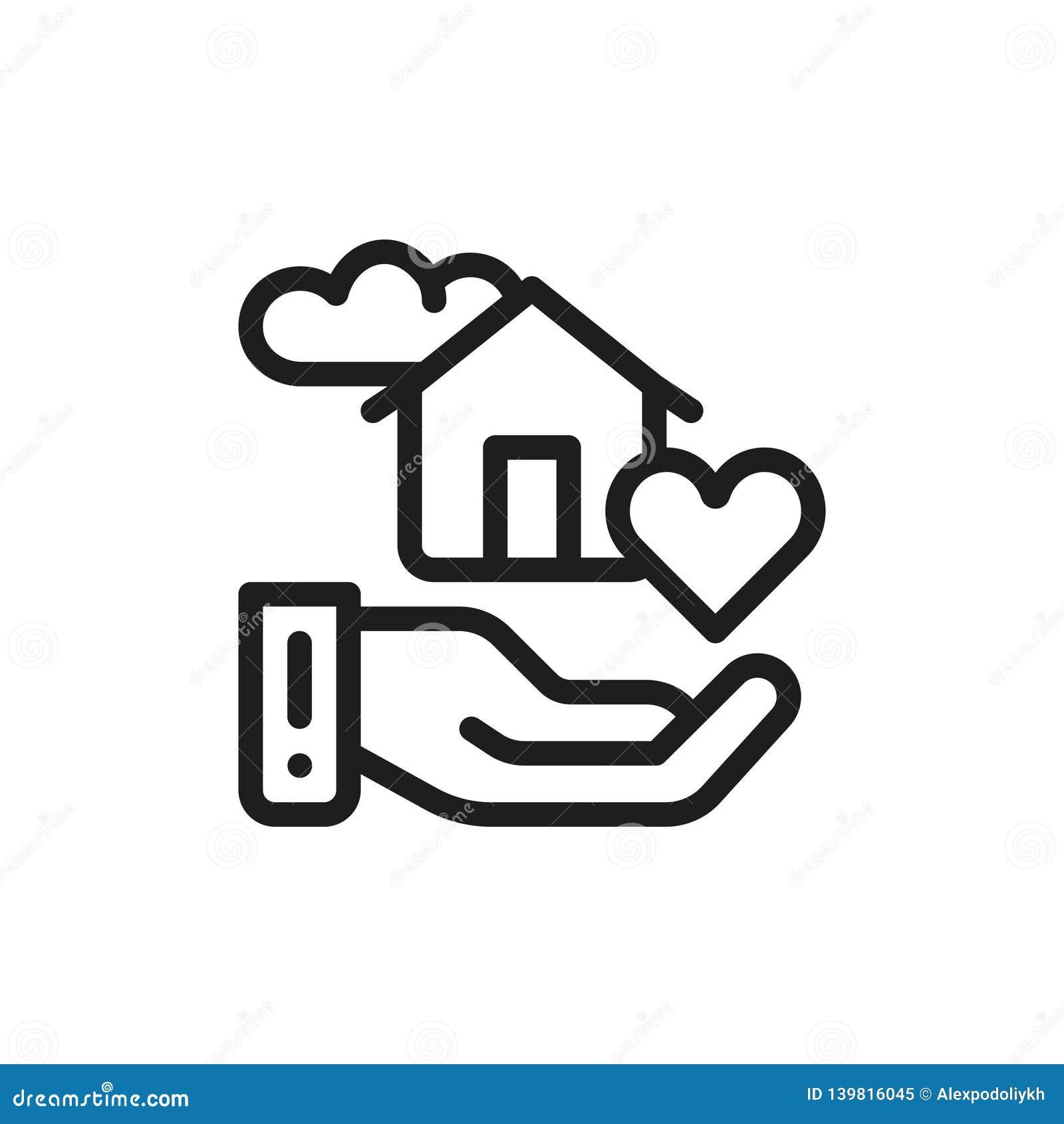 Maison futée douce d icône plate Concept de confort de maison