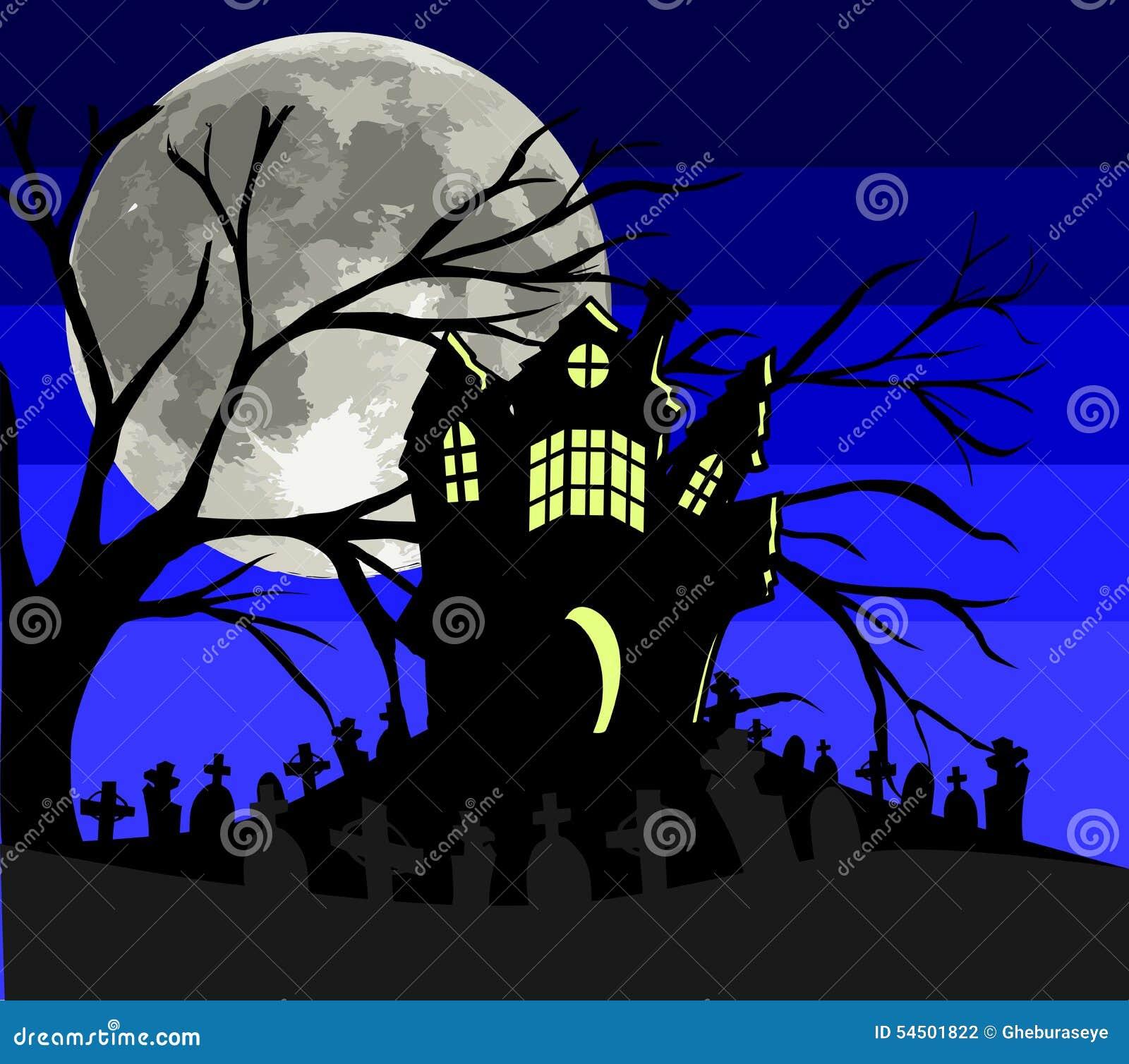 Maison gothique dans un cimetière la nuit