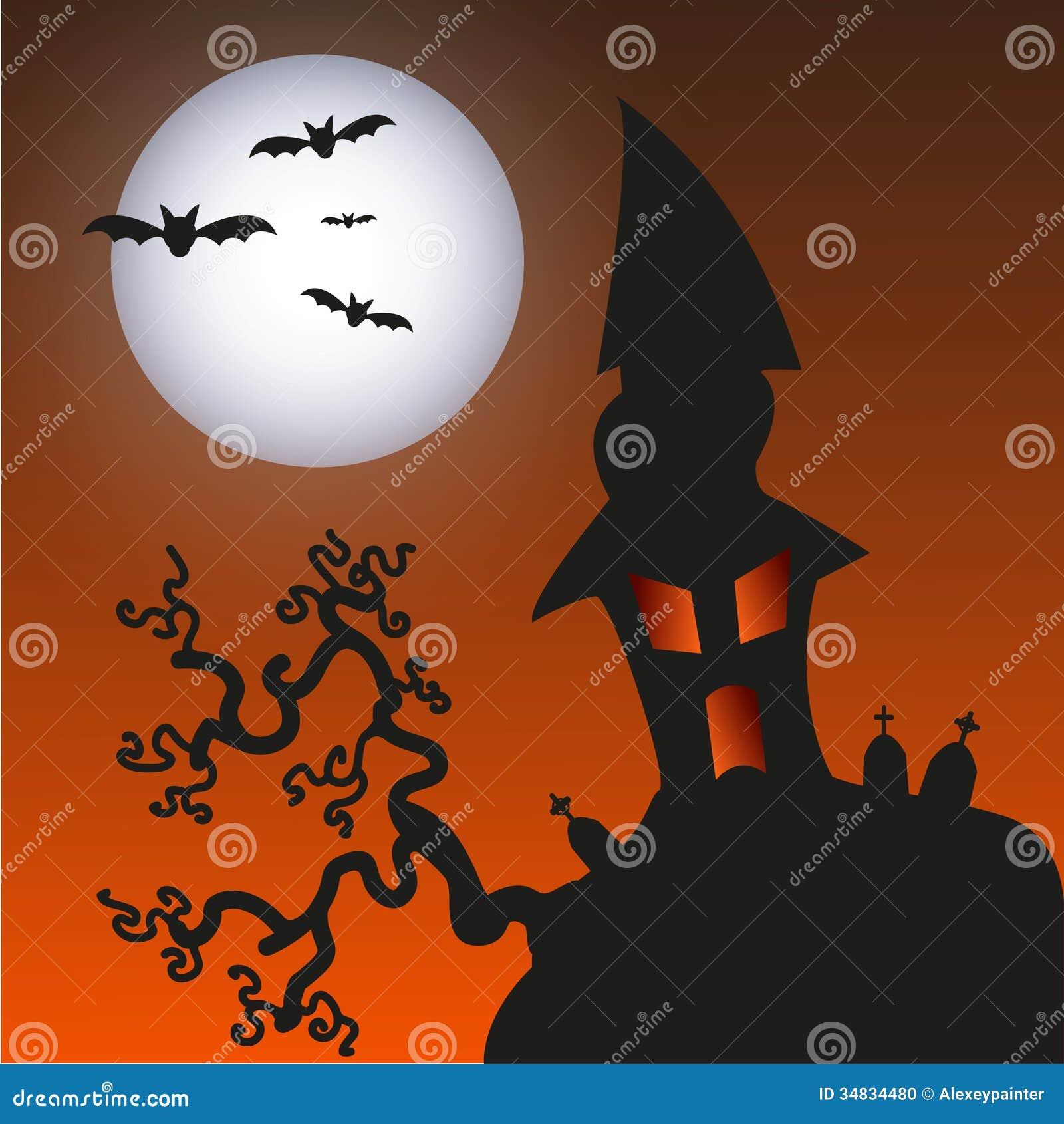 Maison hantée de monstre - fond de Halloween