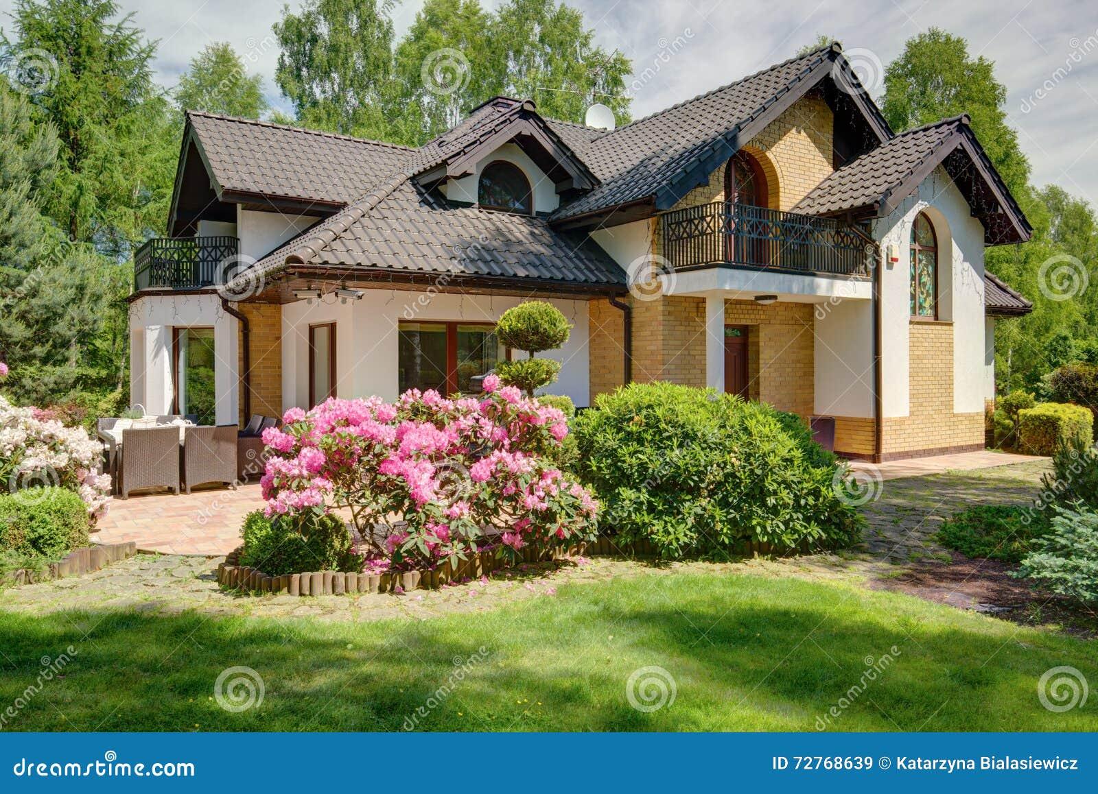 maison luxueuse dans les banlieues photo stock image 72768639. Black Bedroom Furniture Sets. Home Design Ideas