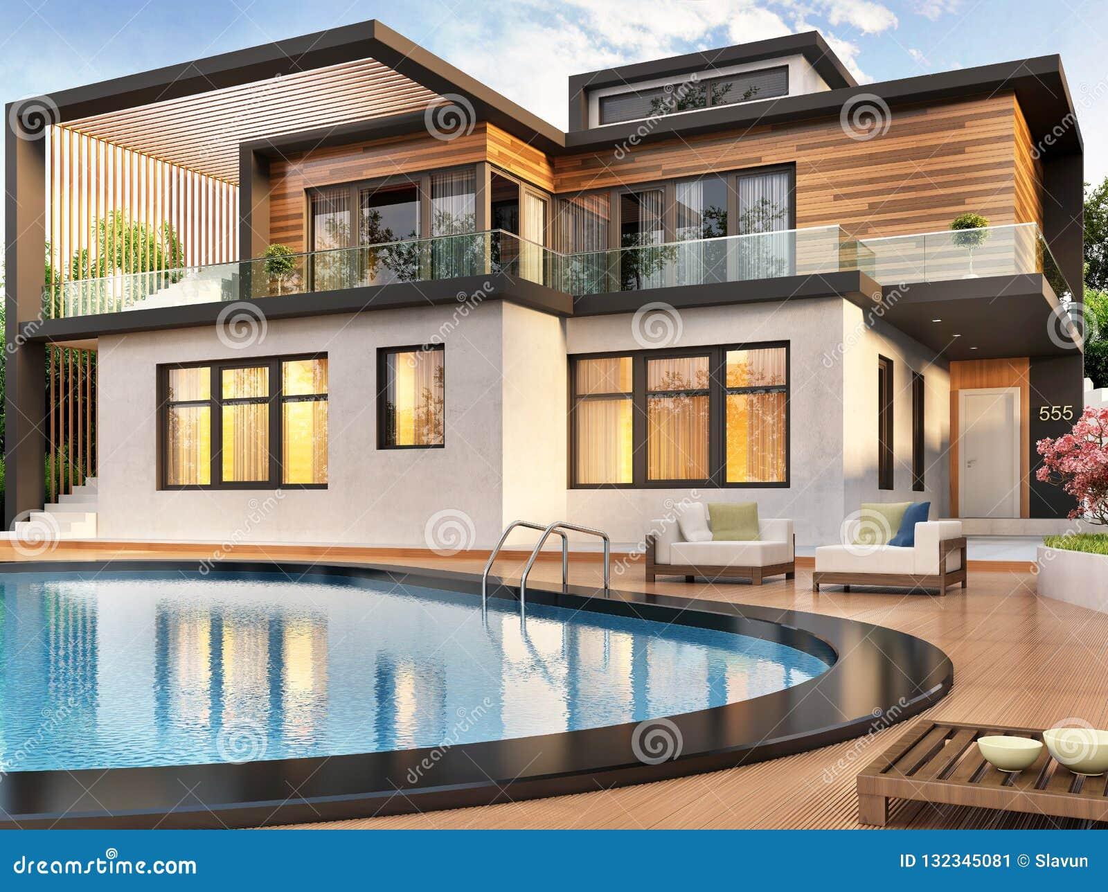 Maison Moderne Avec La Piscine Image Stock Image Du