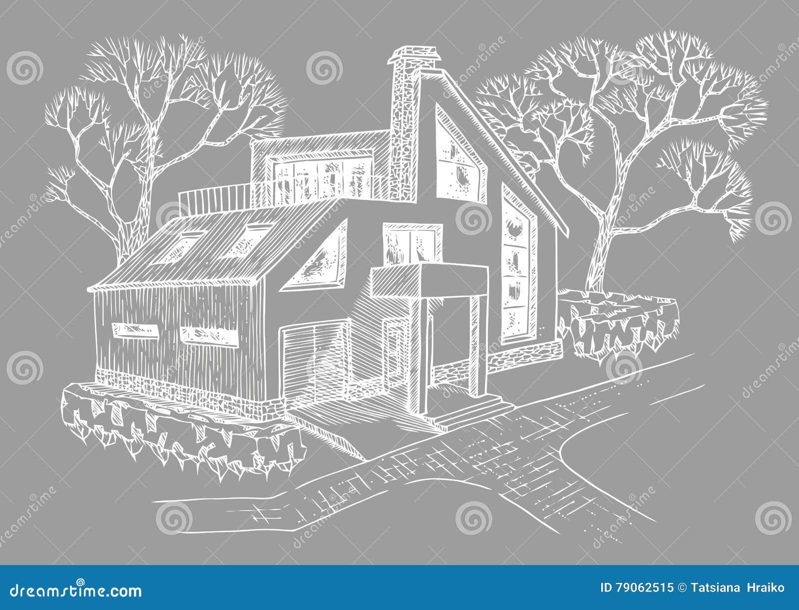 Maison Moderne Avec Le Garage Le Grenier Et La Terrasse