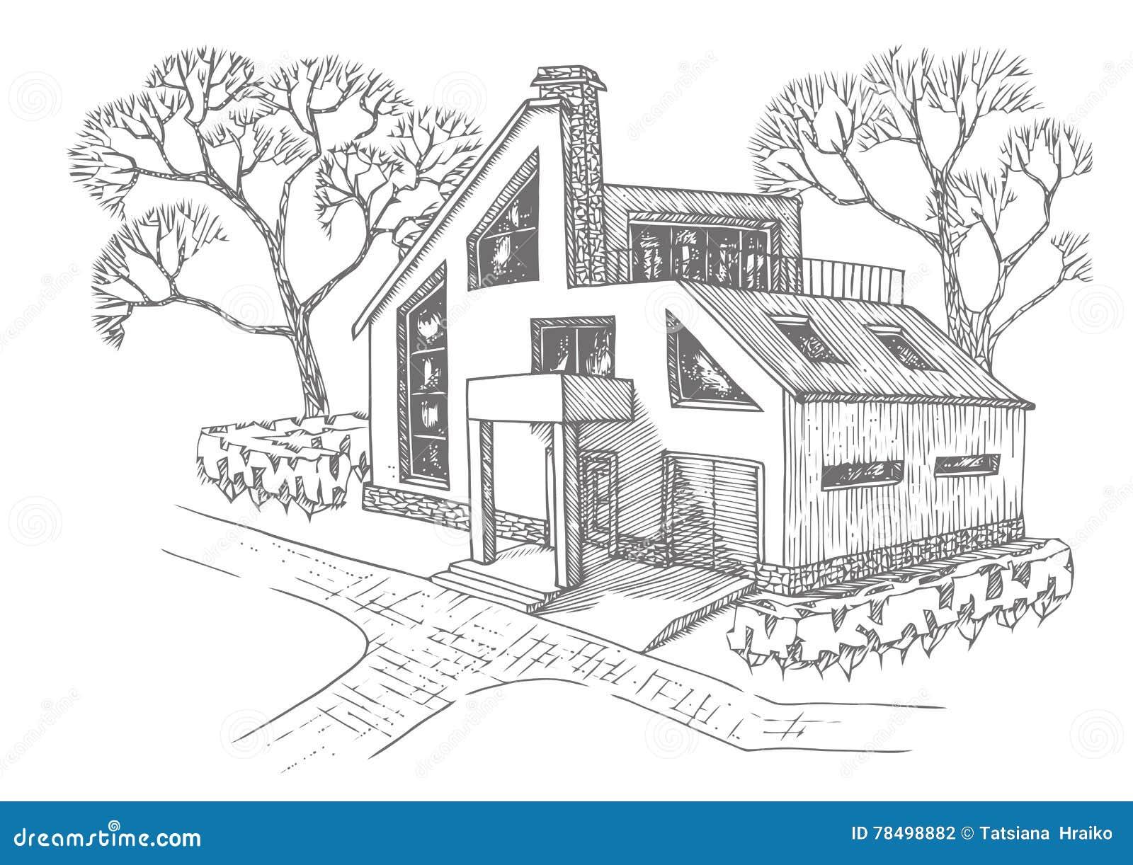 maison moderne avec le garage le grenier et la terrasse cottage avec lamnagement - Maison Moderne Dessin