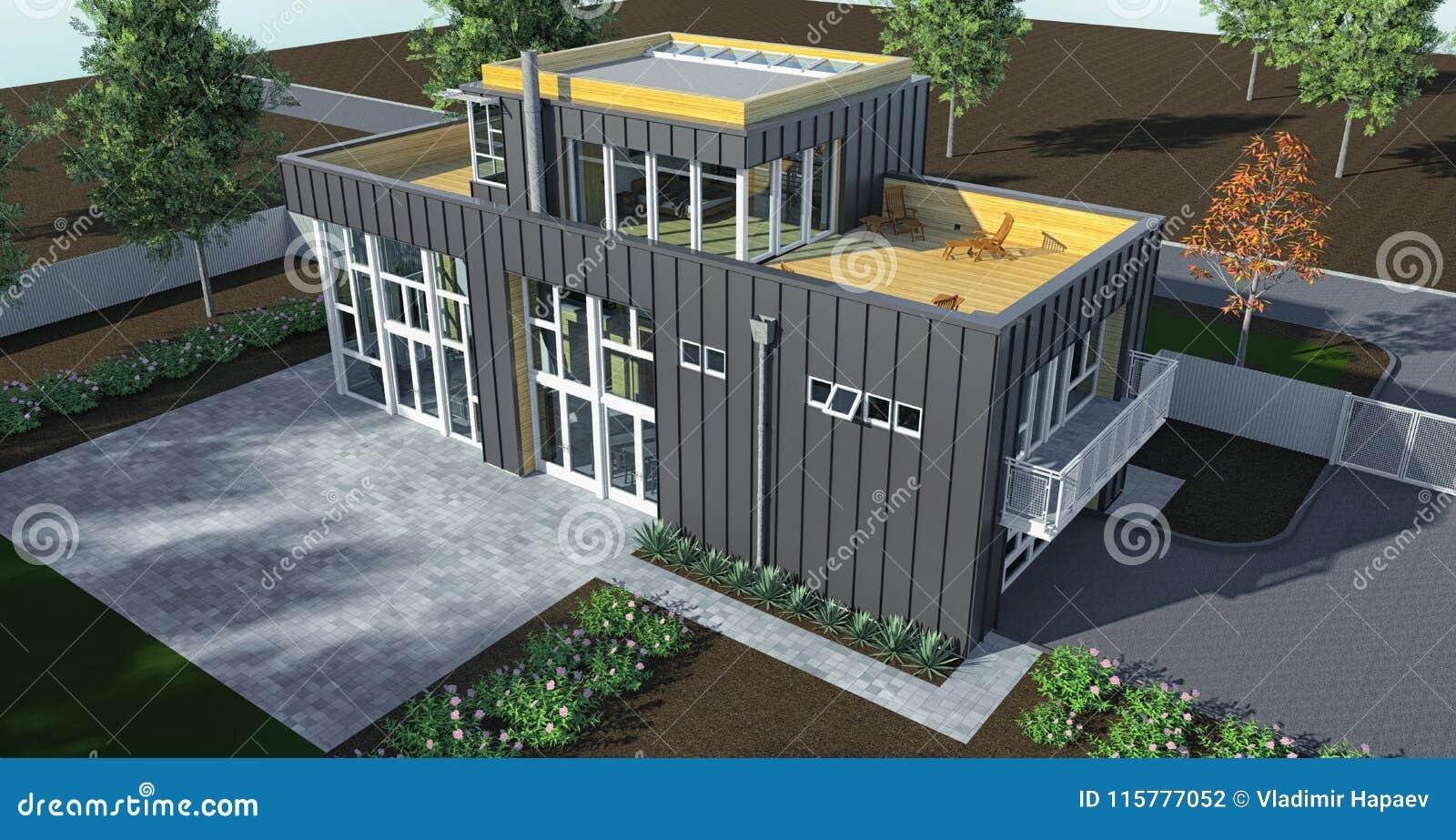 Maison Moderne Avec Le Jardin Et Le Garage Rendu 3d ...