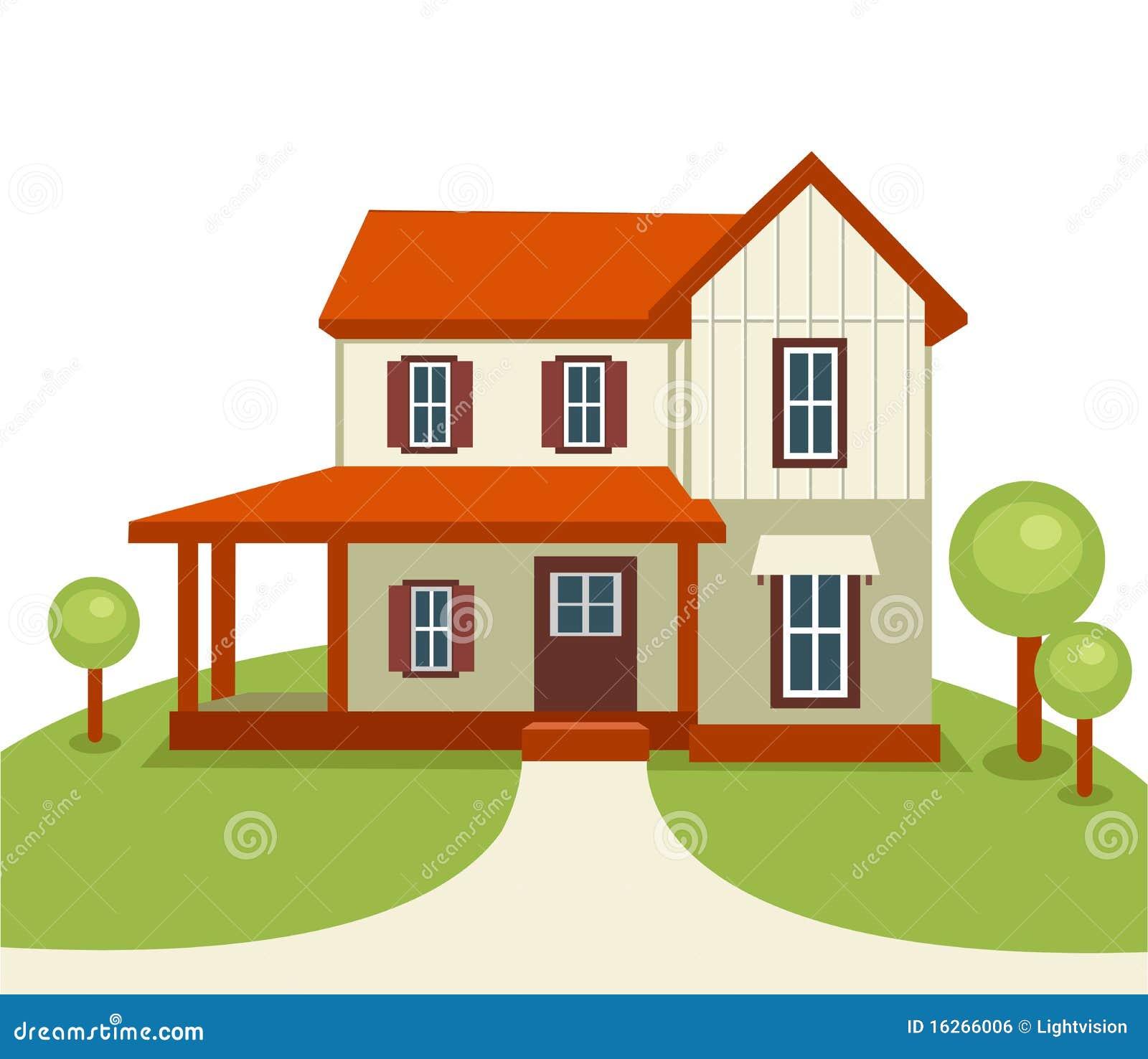 Image De Maison Moderne maison moderne avec les arbres et l'herbe illustration de