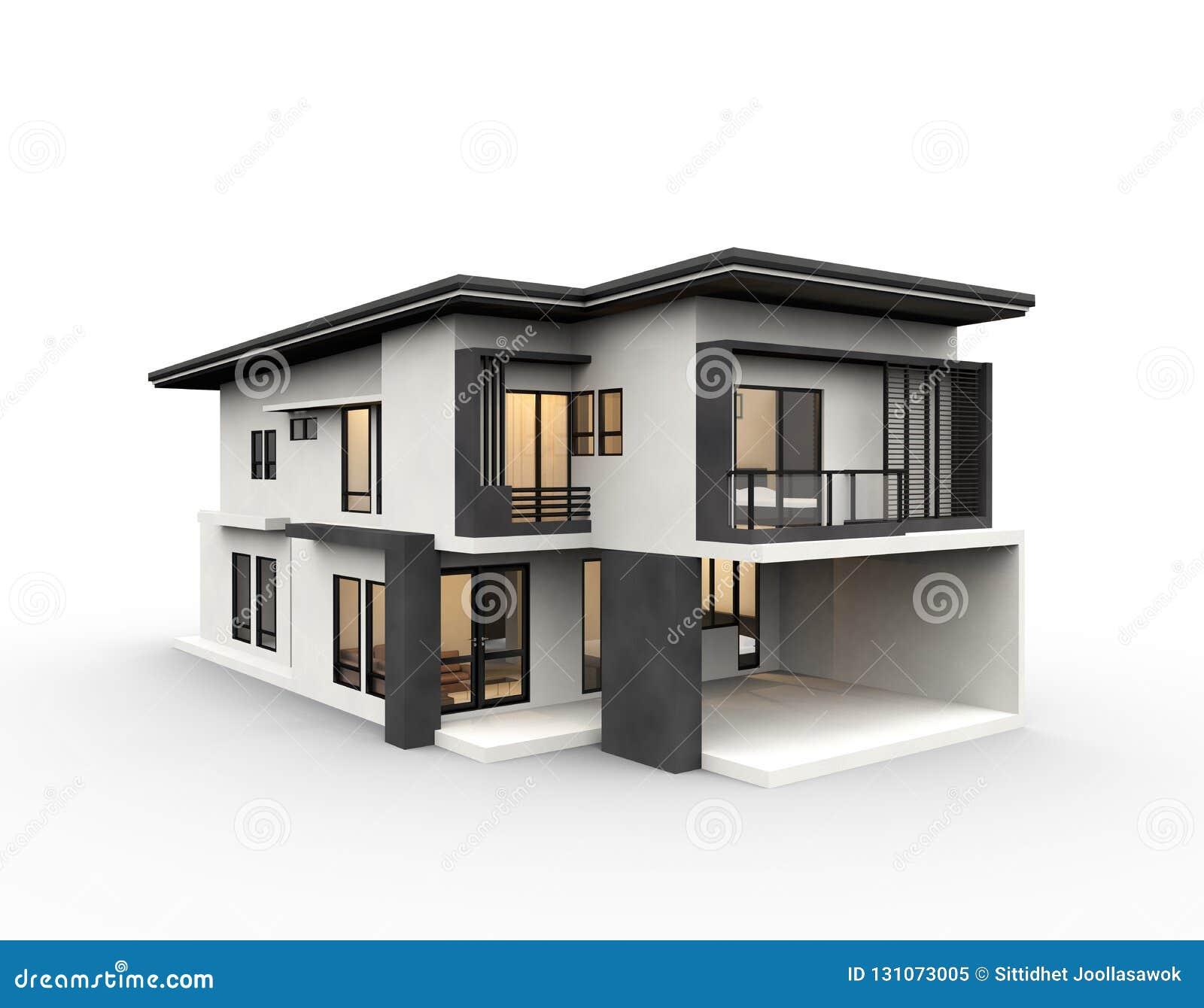 Maison Moderne 3d Rendant Le Style De Luxe D\'isolement Sur Le Fond ...