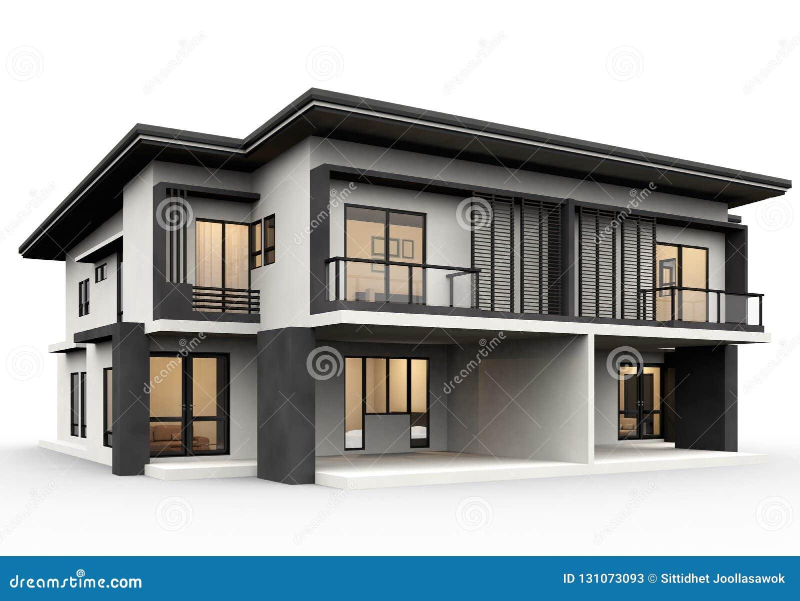 Maison Moderne 3d Rendant Le Style De Luxe D\'isolement Sur ...