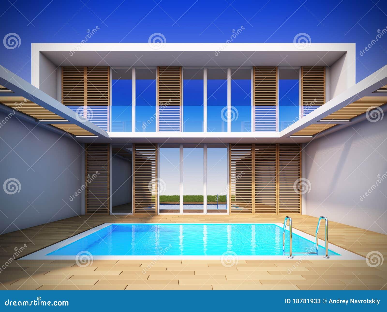 Maison moderne dans le type minimaliste illustration for Construction maison minimaliste