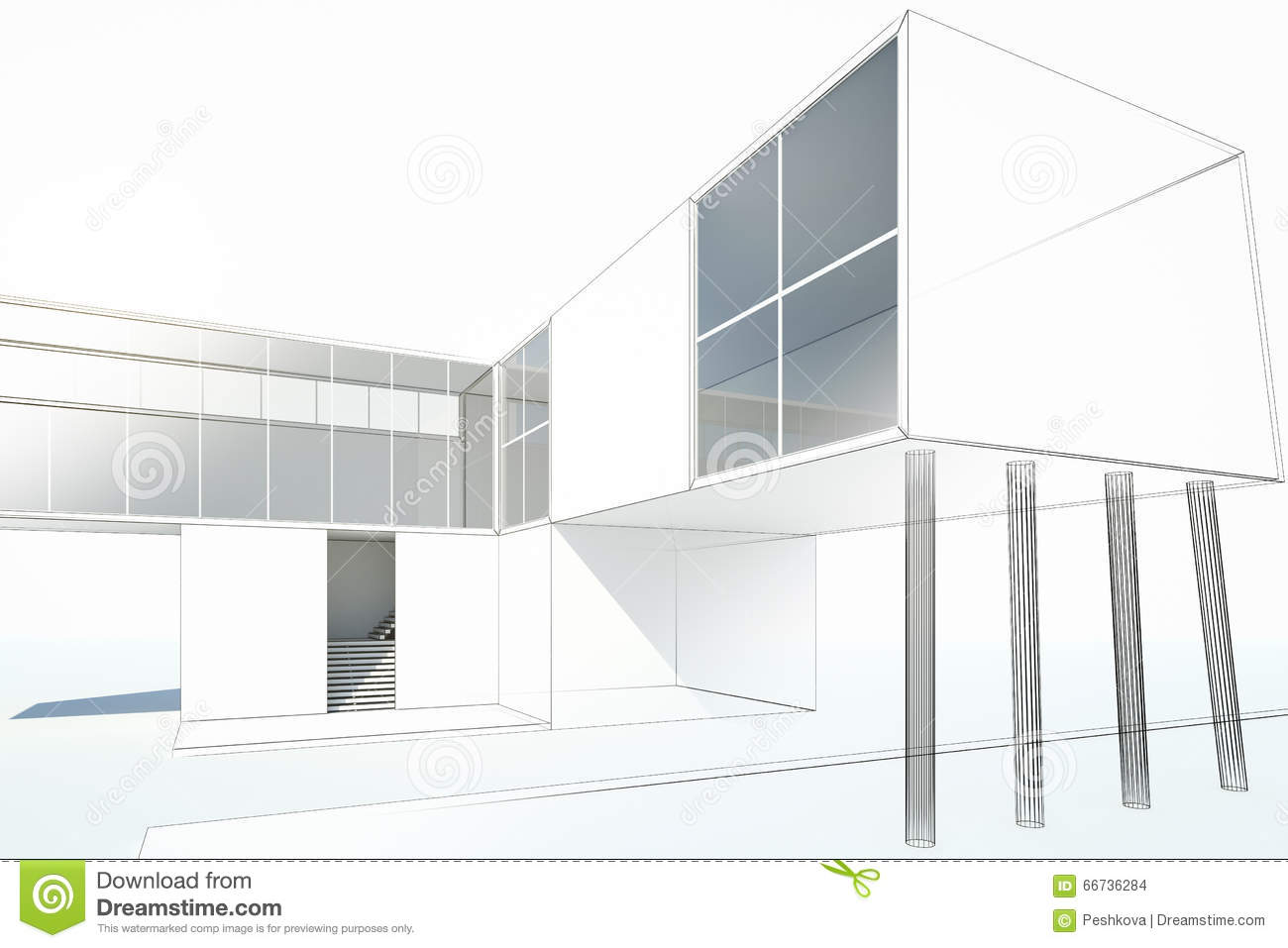 Maison moderne de dessin illustration stock image 66736284 for Dessin de maison en 3d