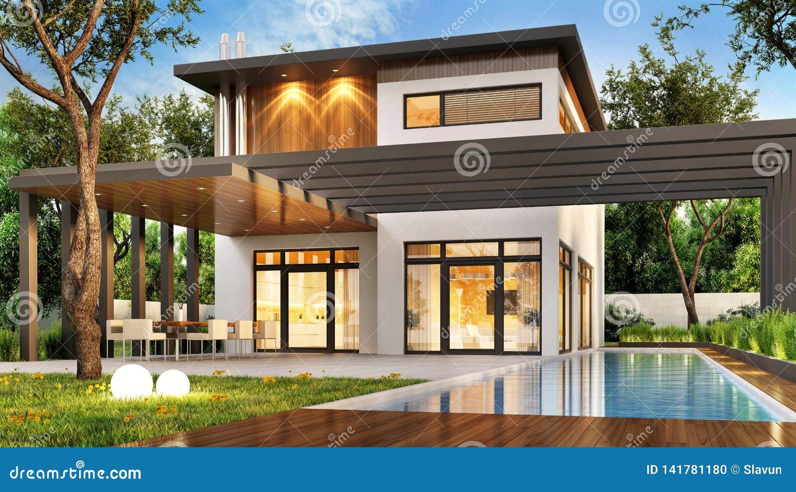 Maison Moderne De Luxe Avec La Grandes Terrasse Et Piscine ...
