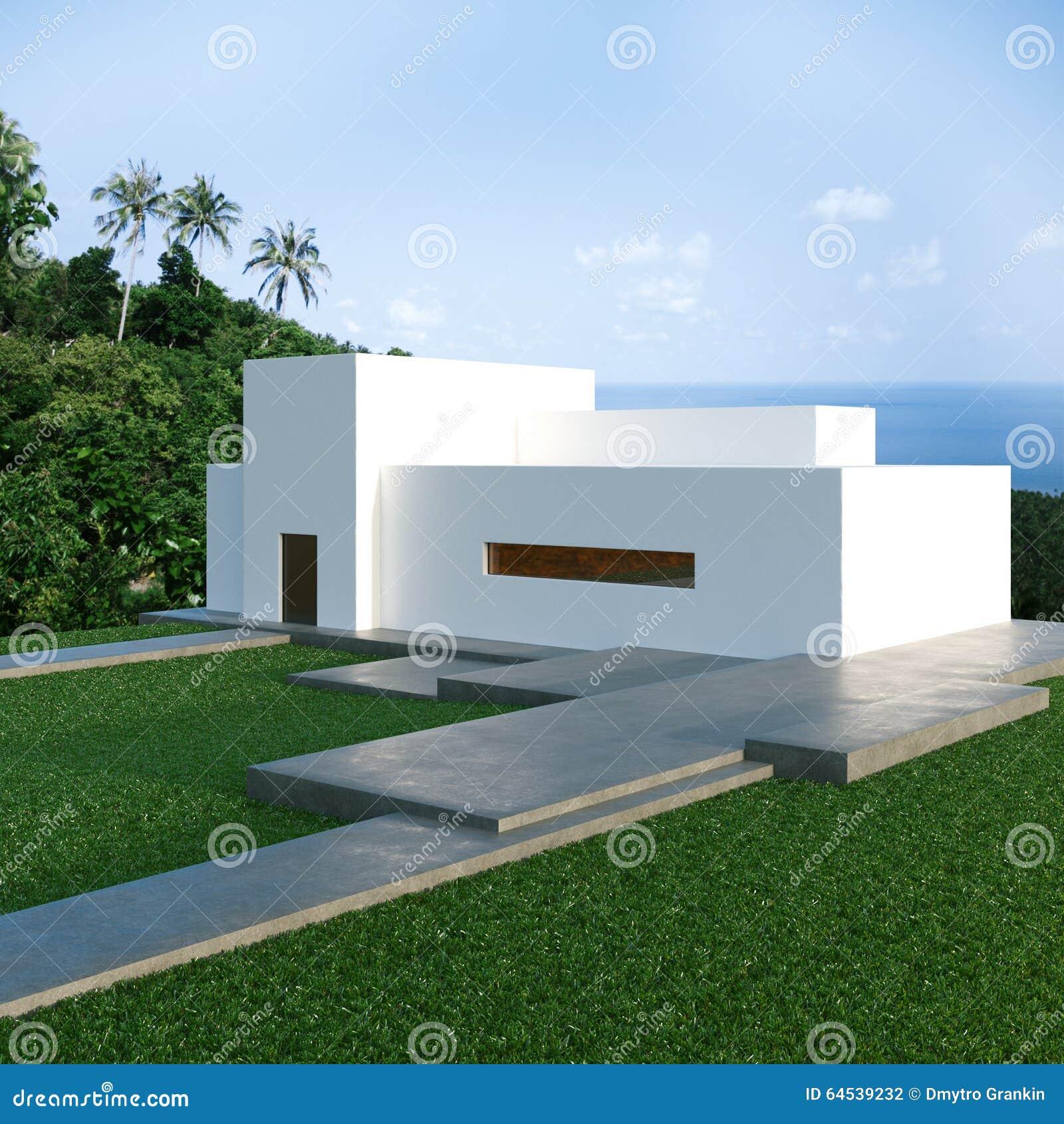 Captivant Maison Moderne En Béton De Rendement Optimum Sur La Colline