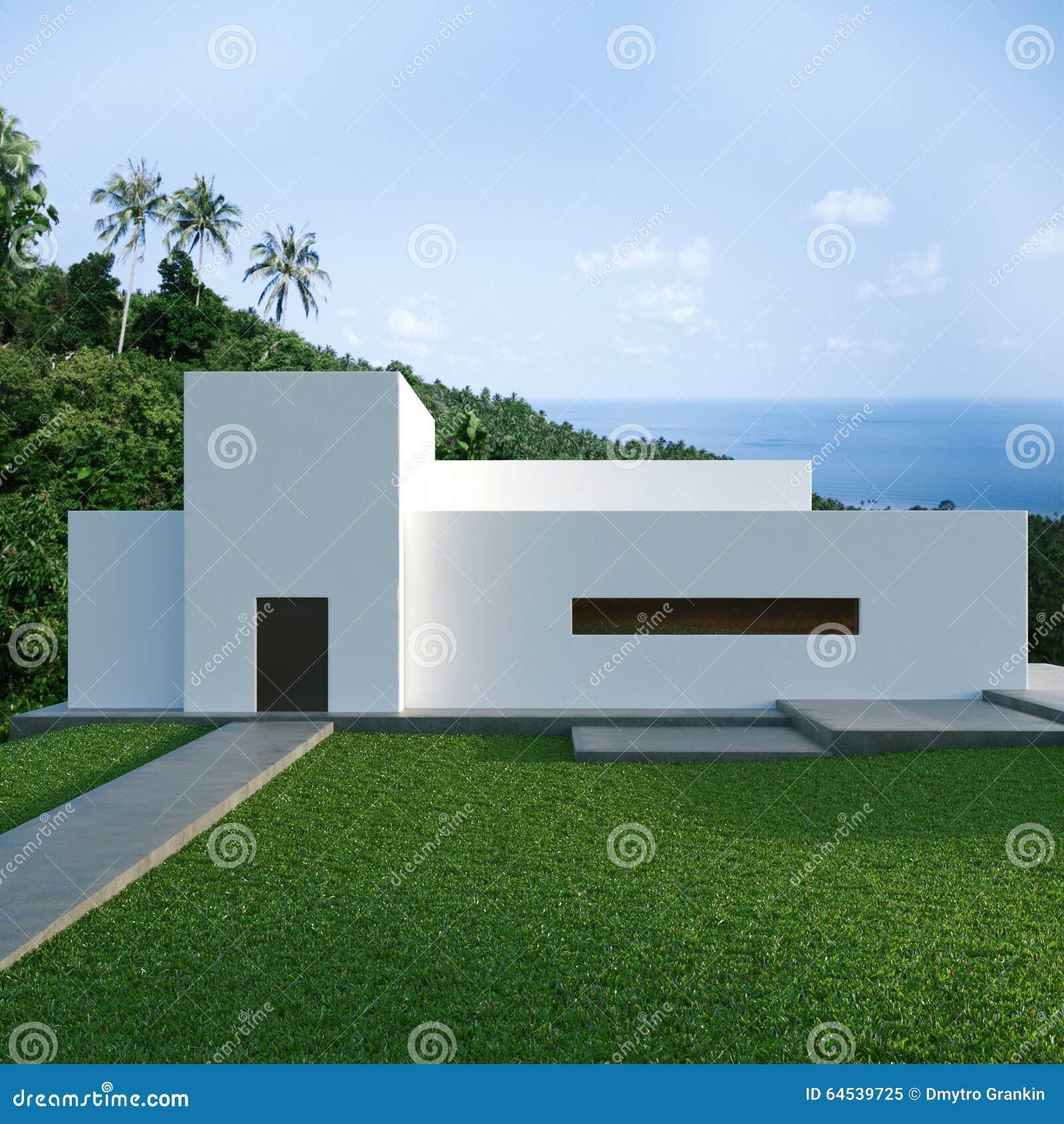 Maison Moderne En Béton De Rendement Optimum Sur La Colline